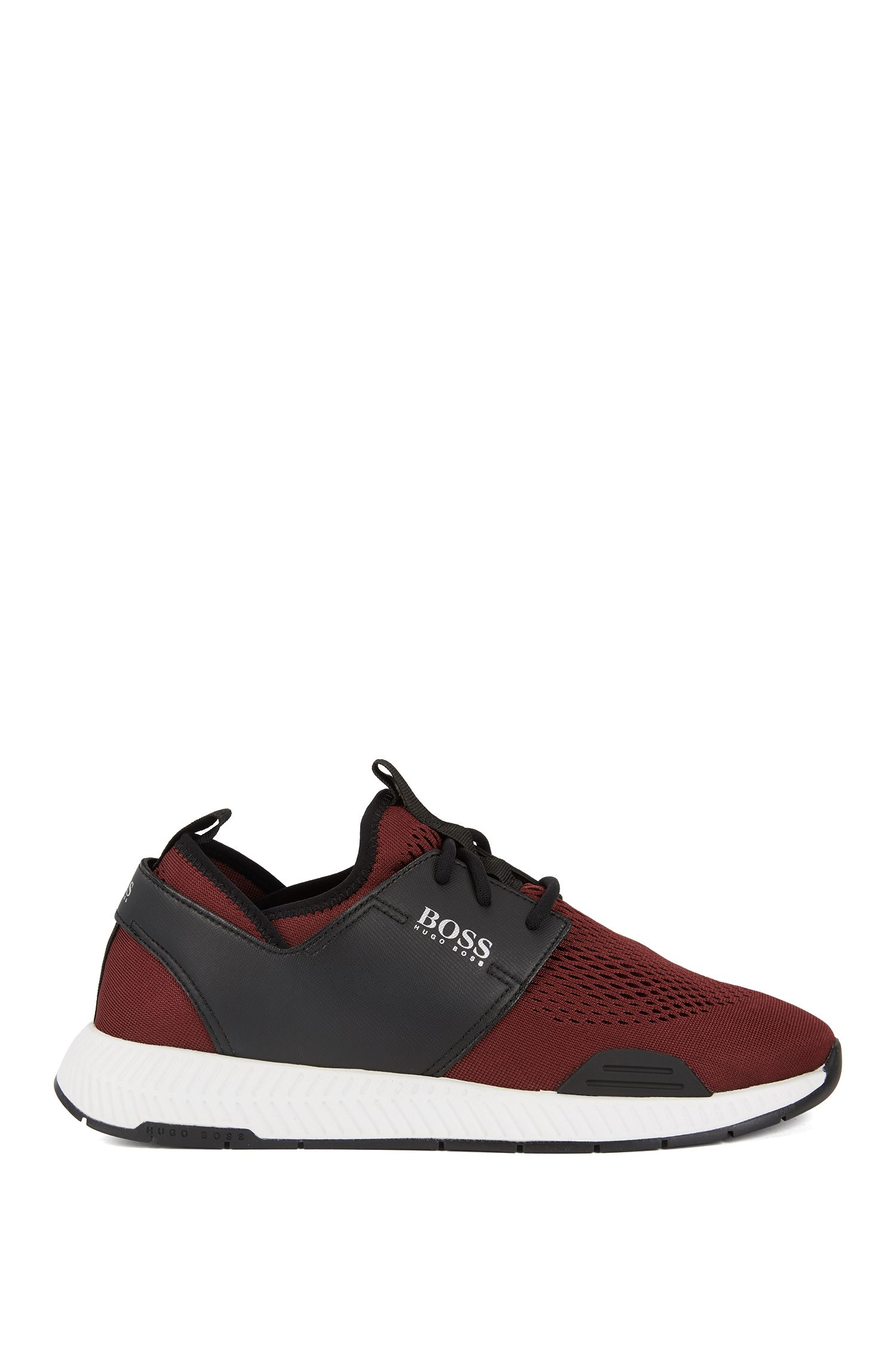 Running-inspired sneakers with mesh uppers, Dark Red