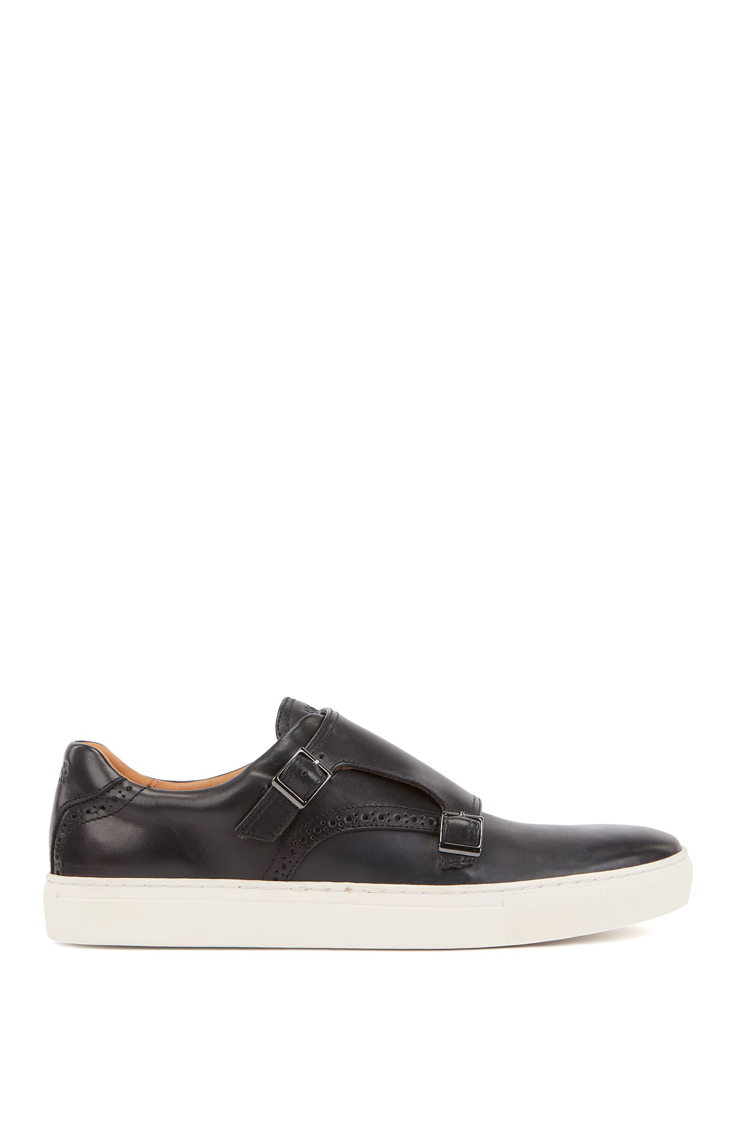 Burnished calf leather sneakers with double monk straps, Dark Blue