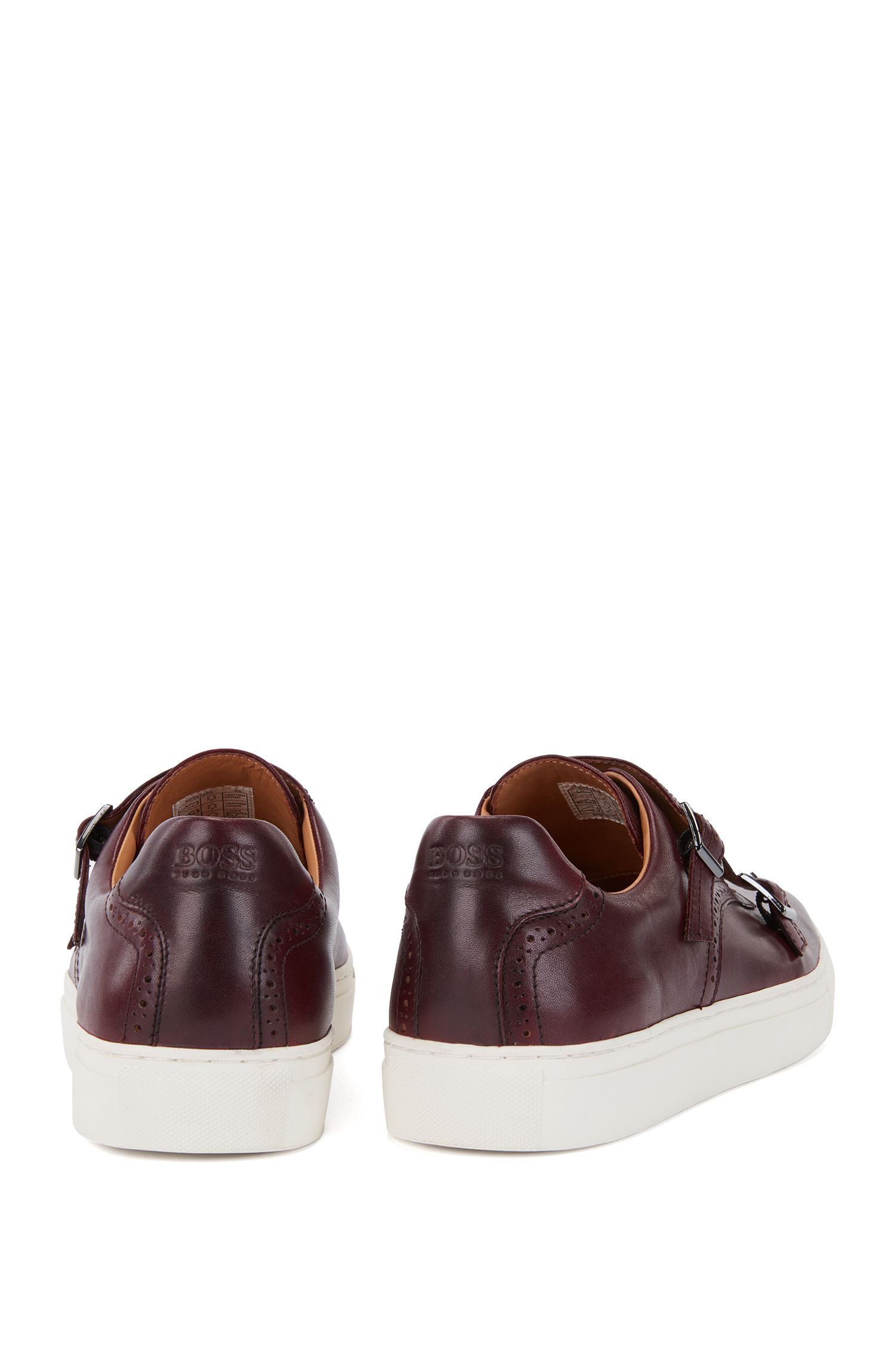 Burnished calf leather sneakers with double monk straps, Dark Red