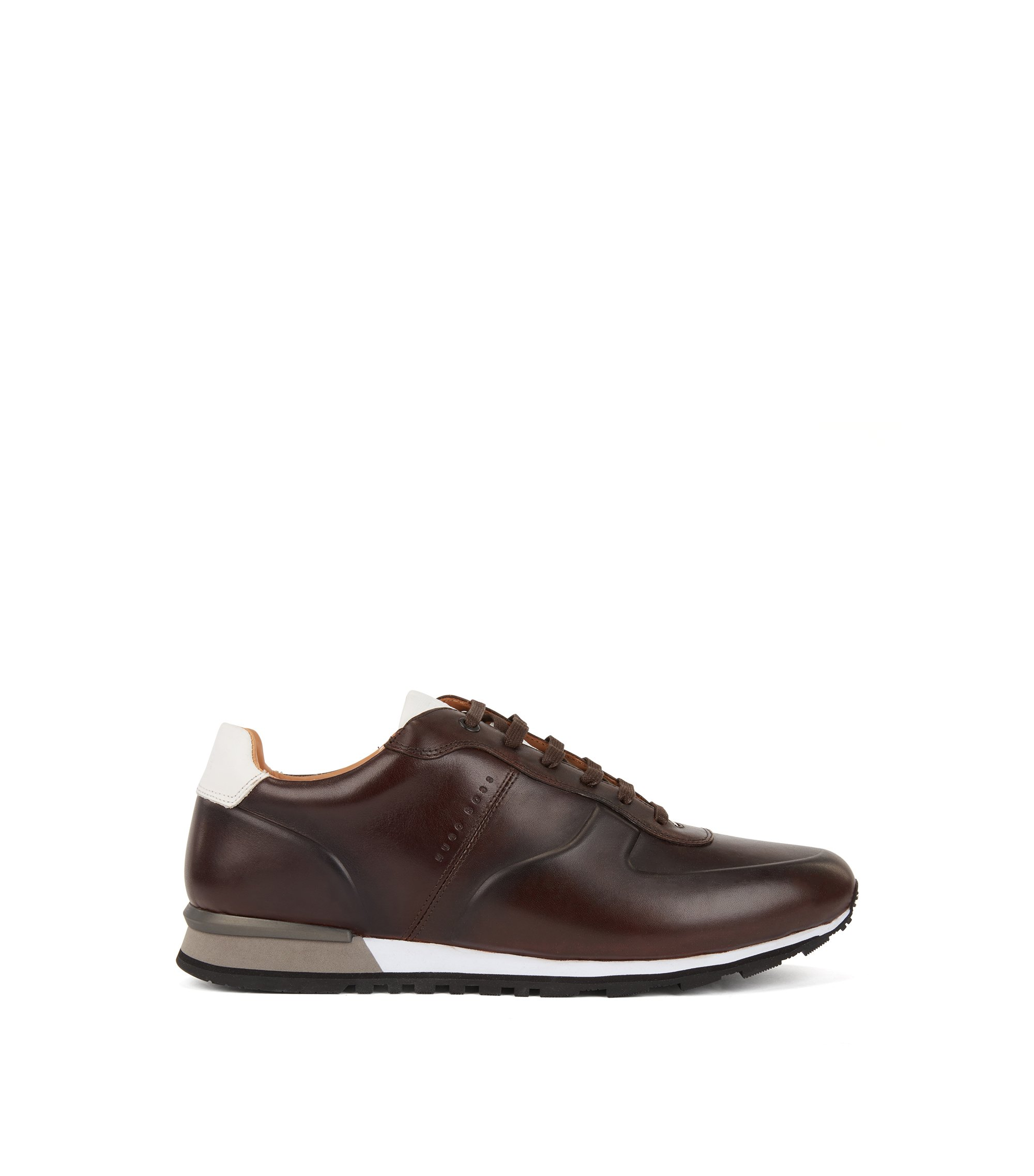 Running-inspired sneakers in burnished calf leather, Dark Brown