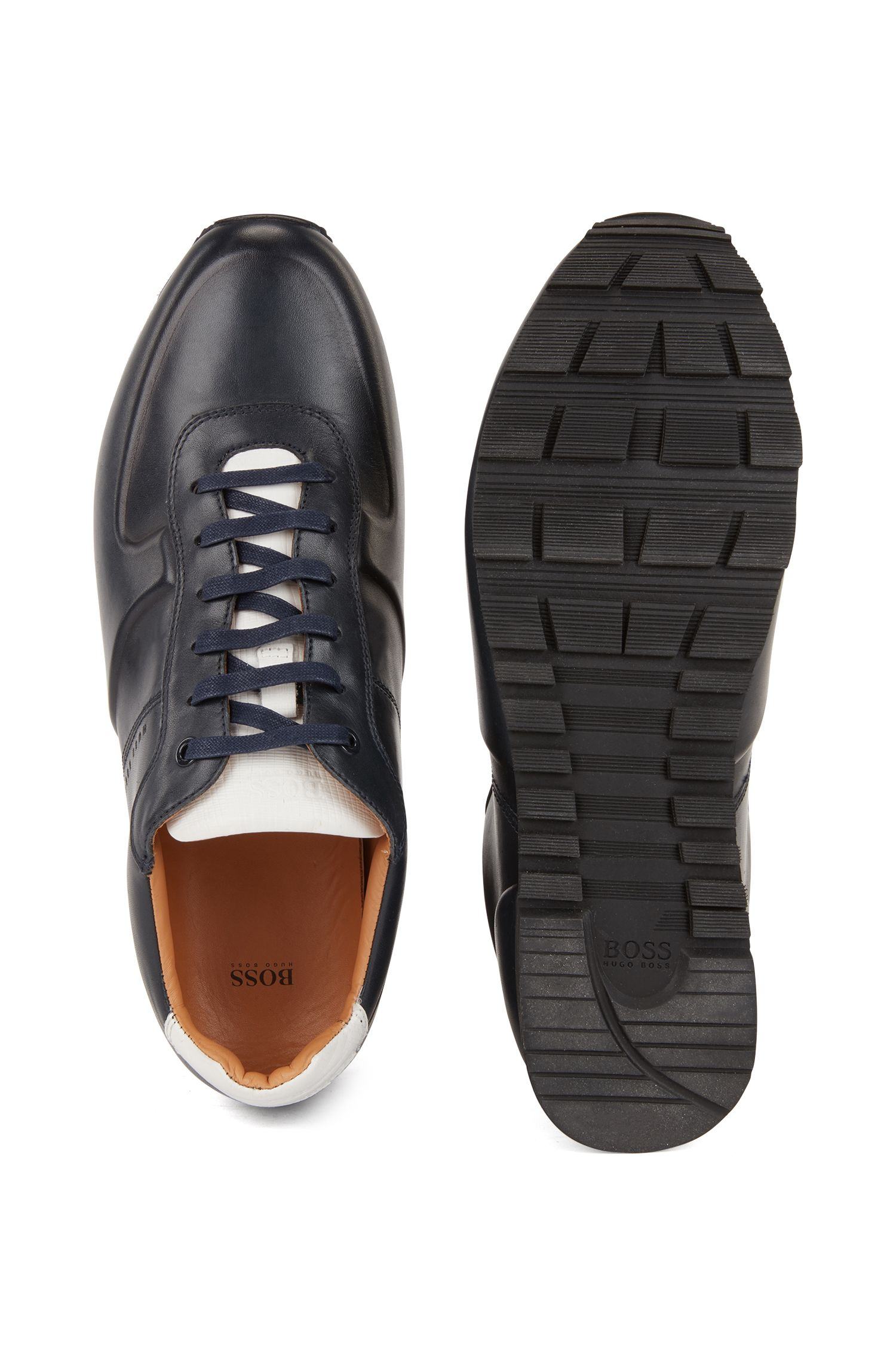 Running-inspired sneakers in burnished calf leather, Dark Blue