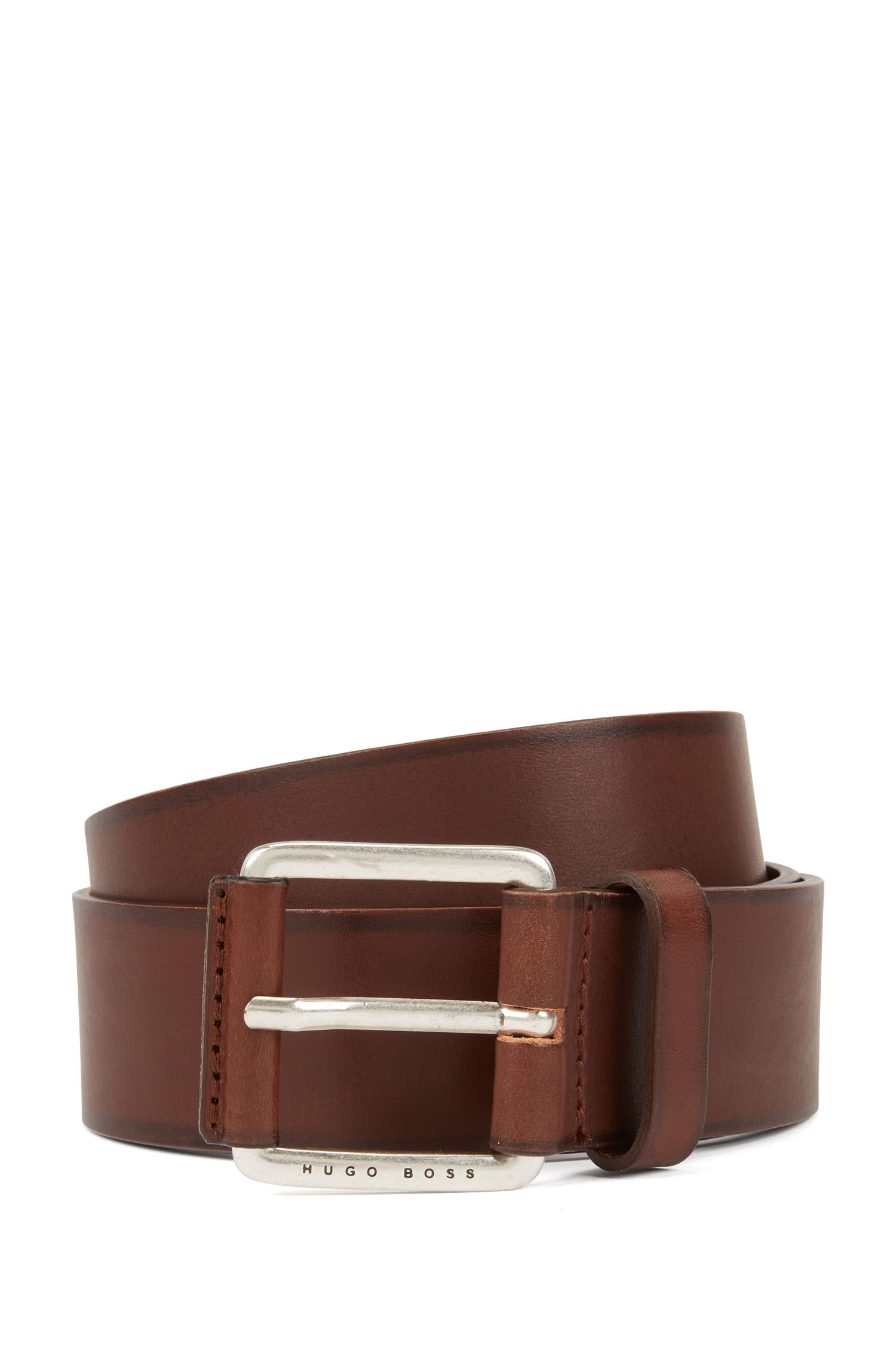 Smooth leather belt with leather-covered buckle, Brown