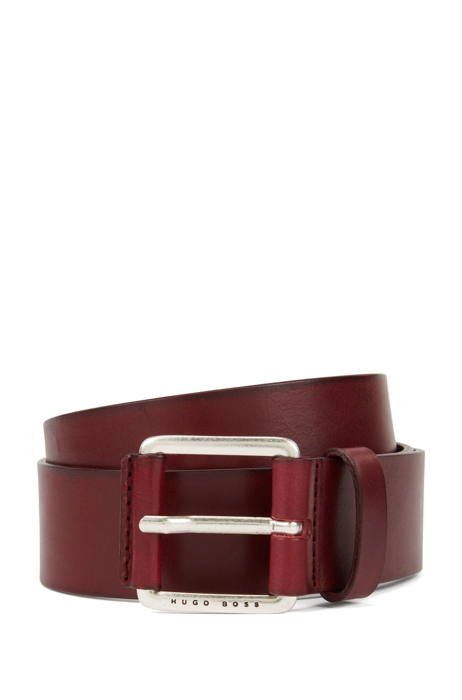 Smooth leather belt with leather-covered buckle, Dark Red