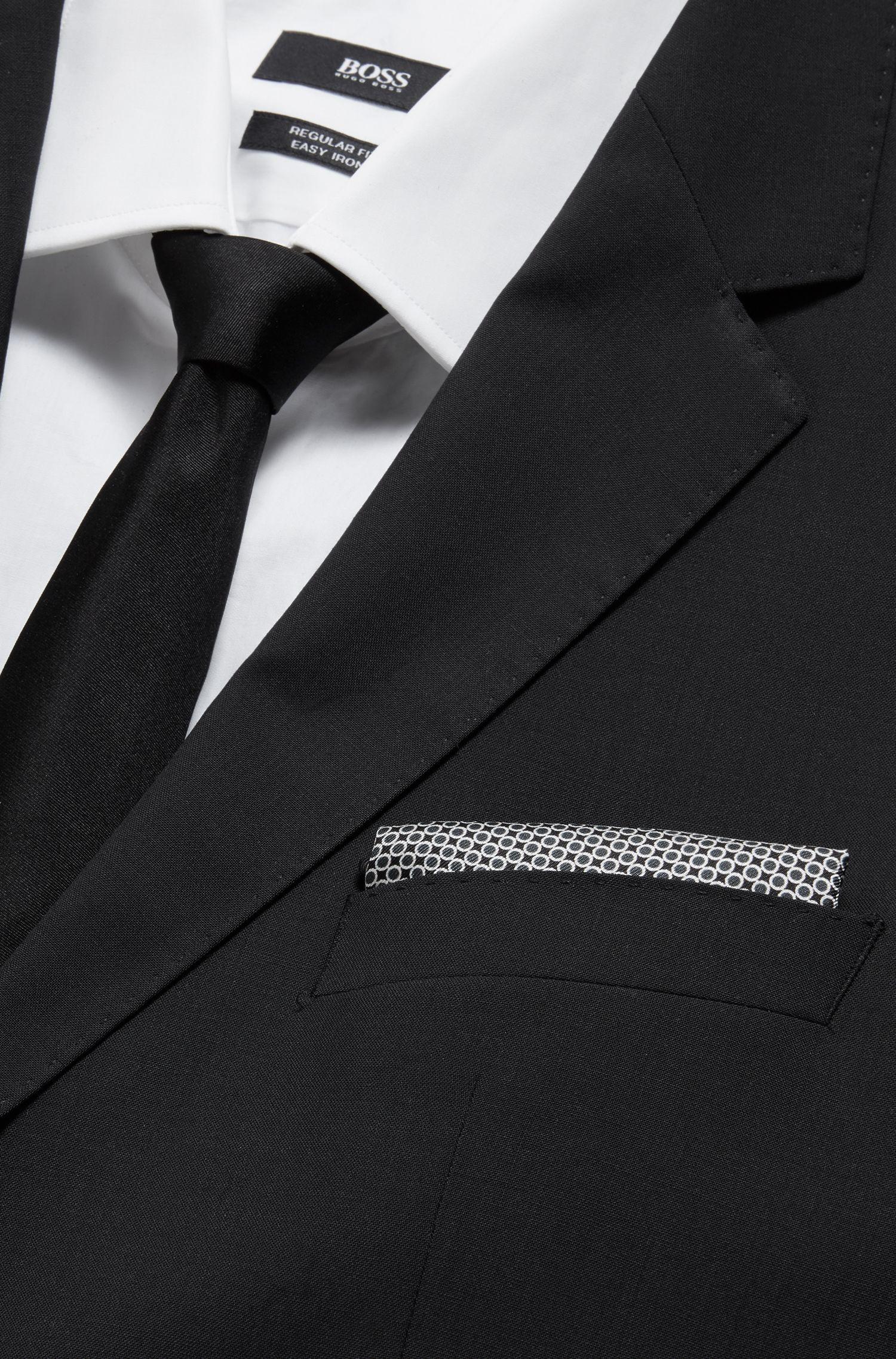 Silk pocket square with dot print, Black