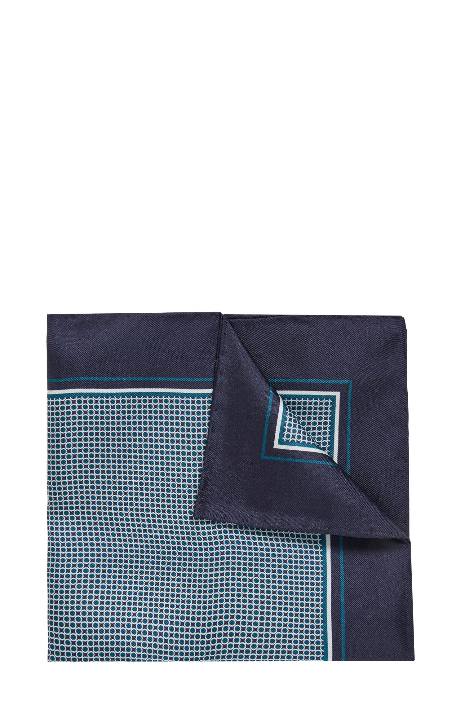 Silk pocket square with dot print, Open Blue