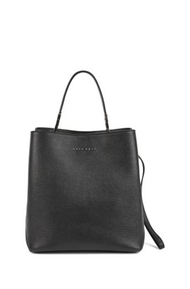 Bucket Bag In Embossed Italian Calf Leather With Drawstring Black