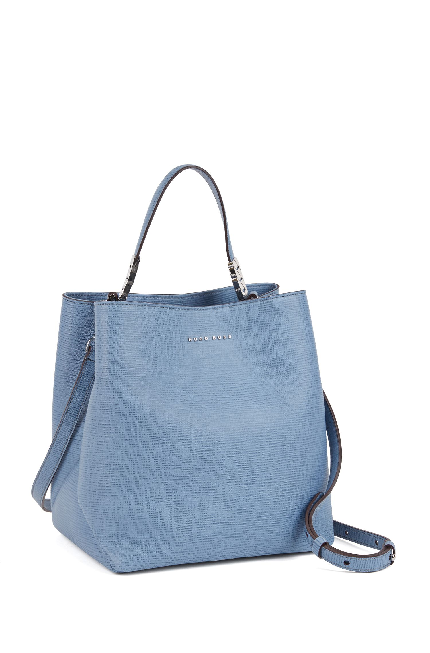 Bucket bag in embossed Italian calf leather with drawstring, Light Blue