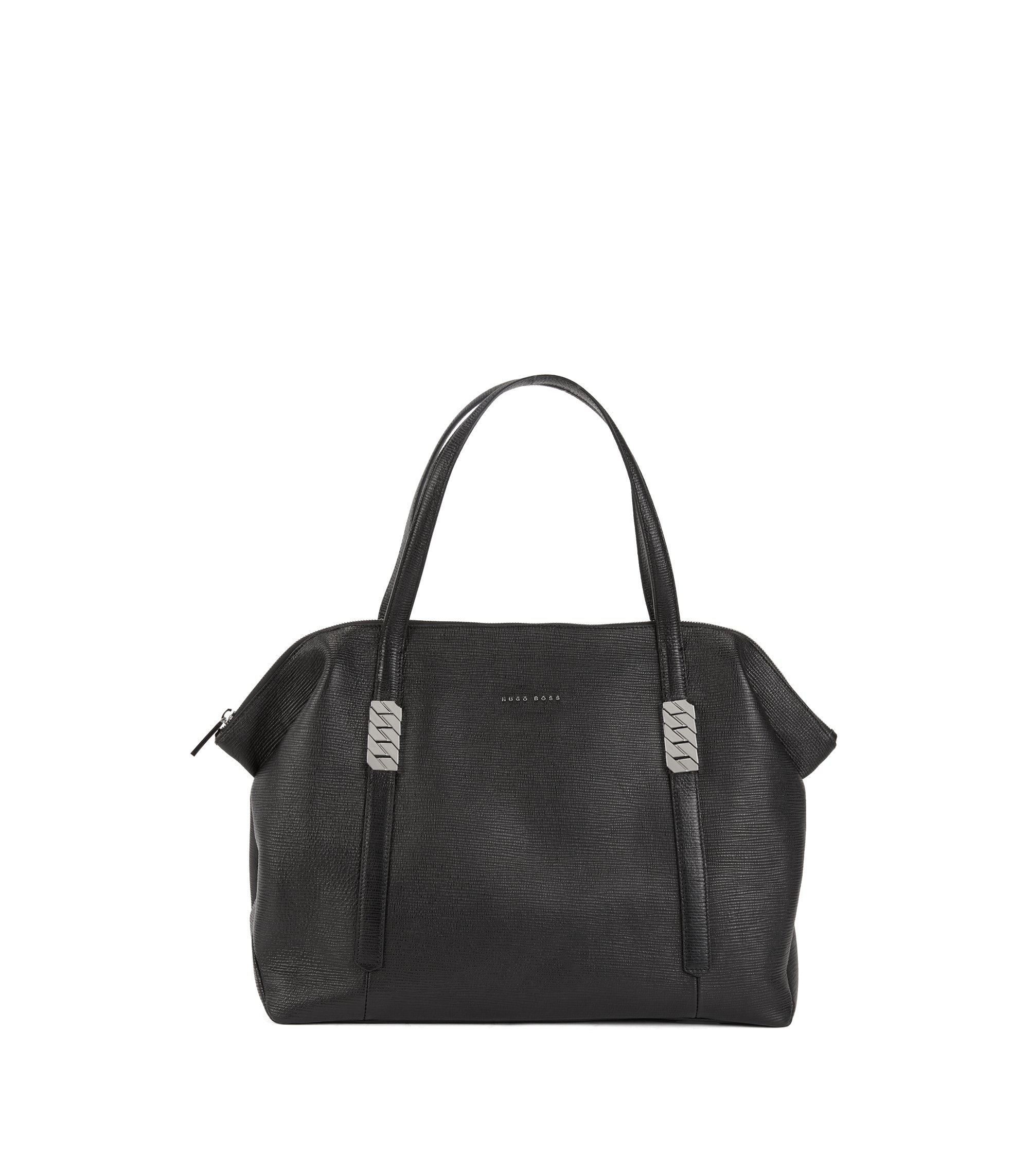 Zippered shopper in calf leather with silver chain detail, Black