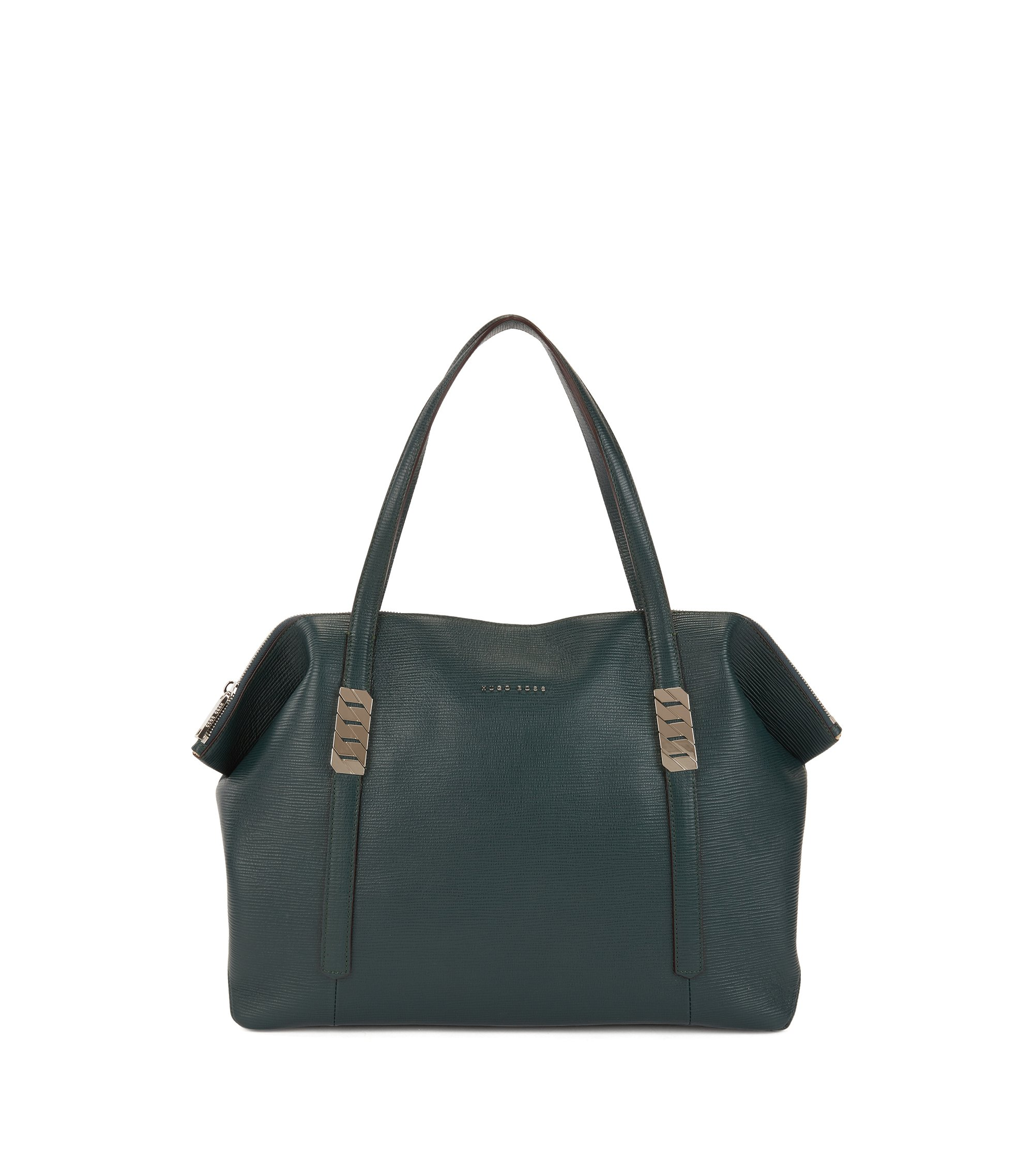 Zippered shopper in calf leather with silver chain detail, Open Green