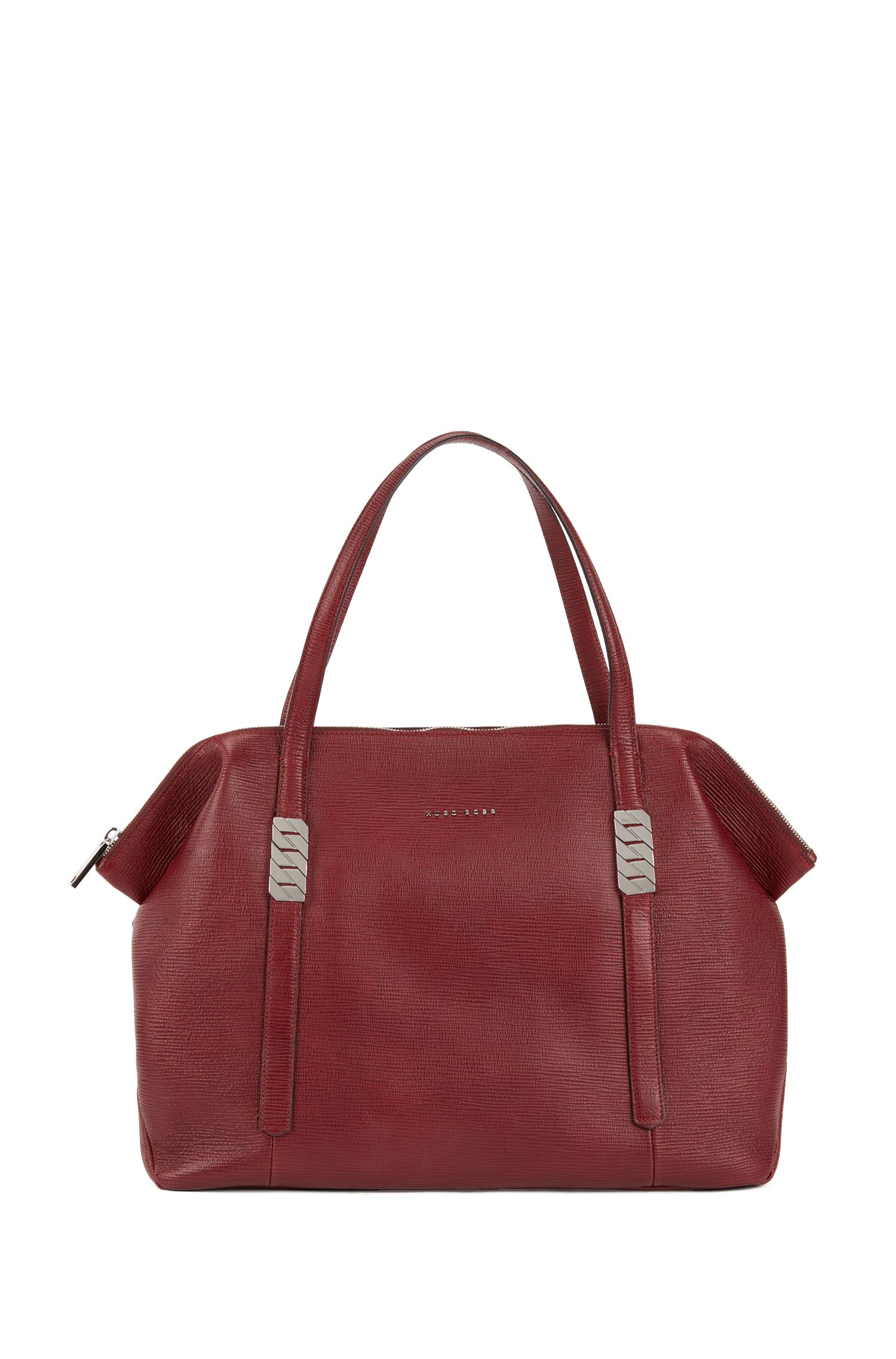 Zippered shopper in calf leather with silver chain detail, Dark Red