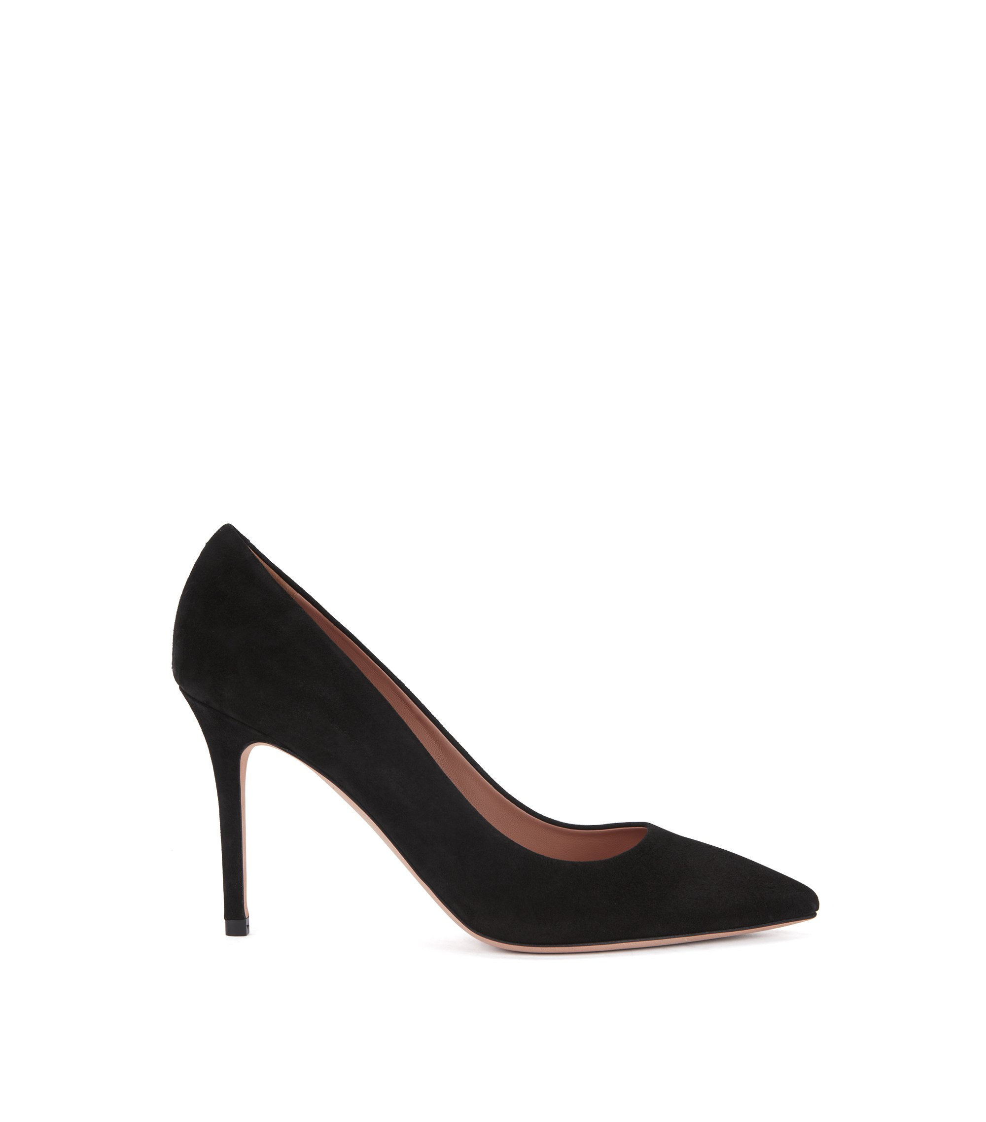 Pointed-toe pumps in Italian suede , Black