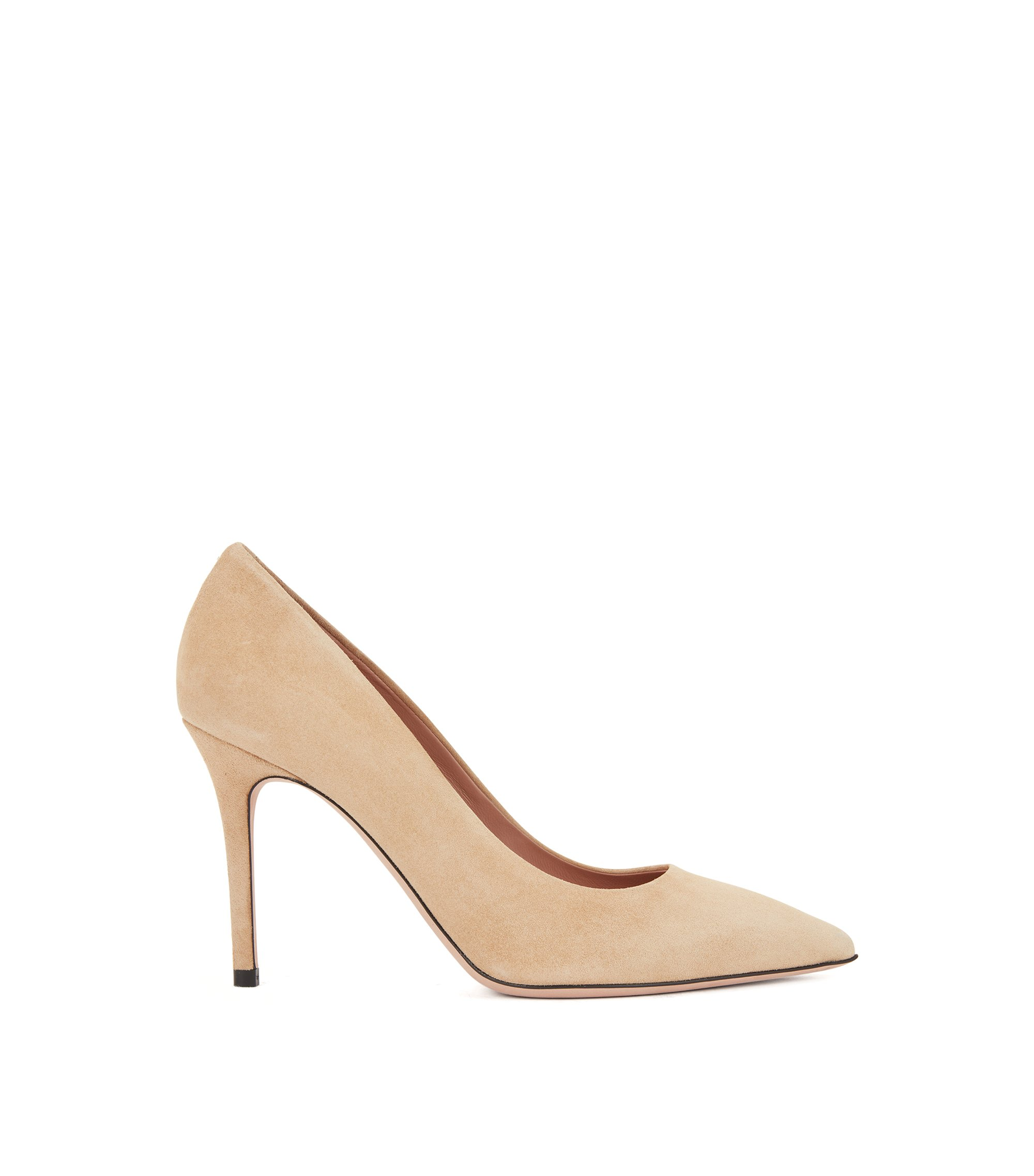 Pointed-toe pumps in Italian suede , Beige