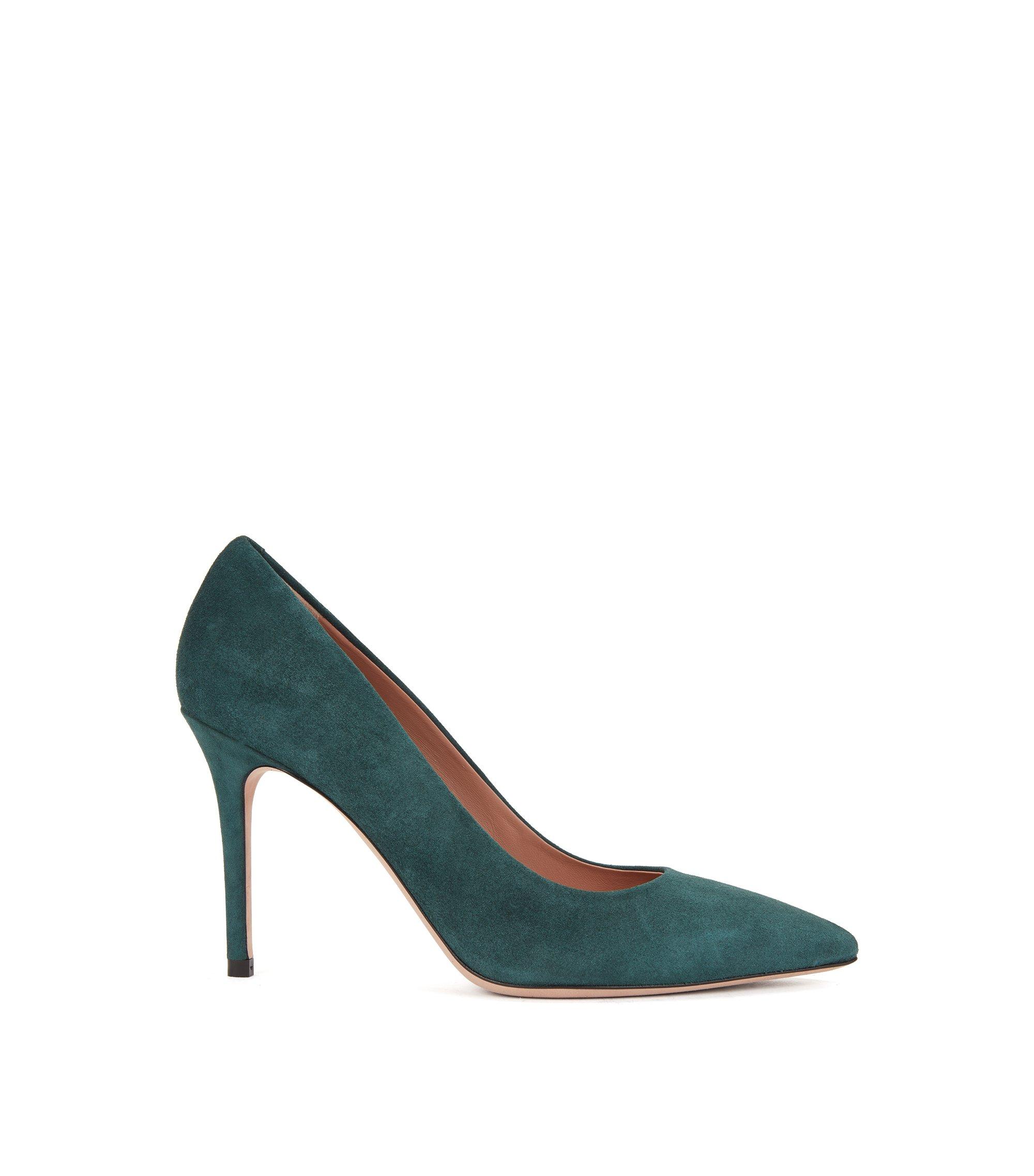 Pointed-toe pumps in Italian suede , Open Green