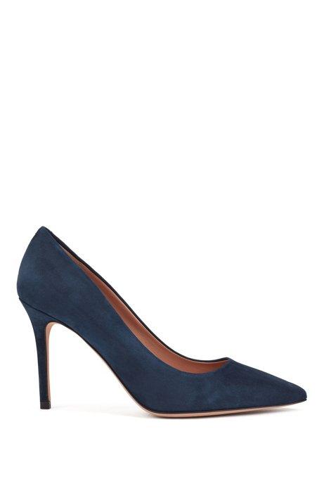 Pointed-toe pumps in Italian suede , Dark Blue