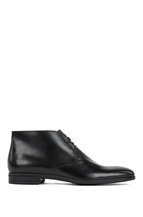 Desert boots in burnished calf leather, Black
