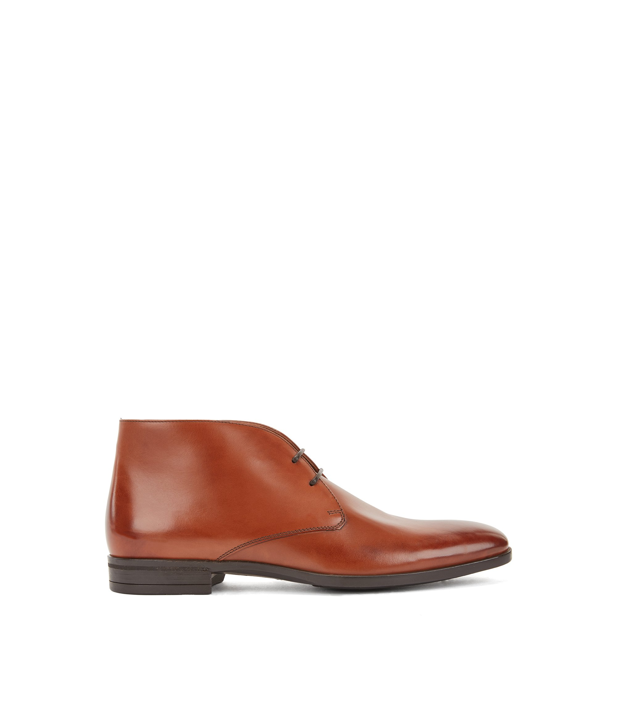 Desert boots in burnished calf leather, Brown