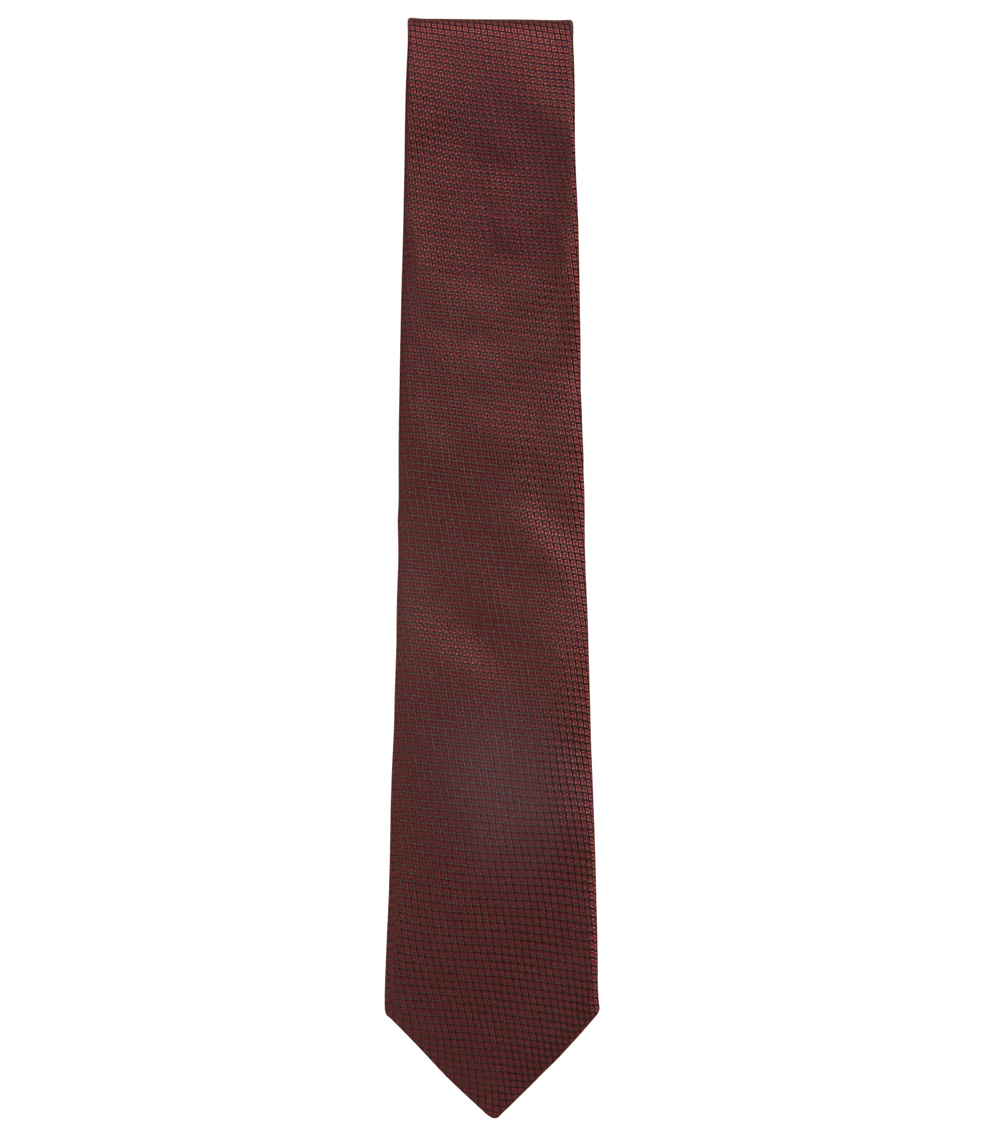 Italian-made tie in patterned silk jacquard, Dark Red