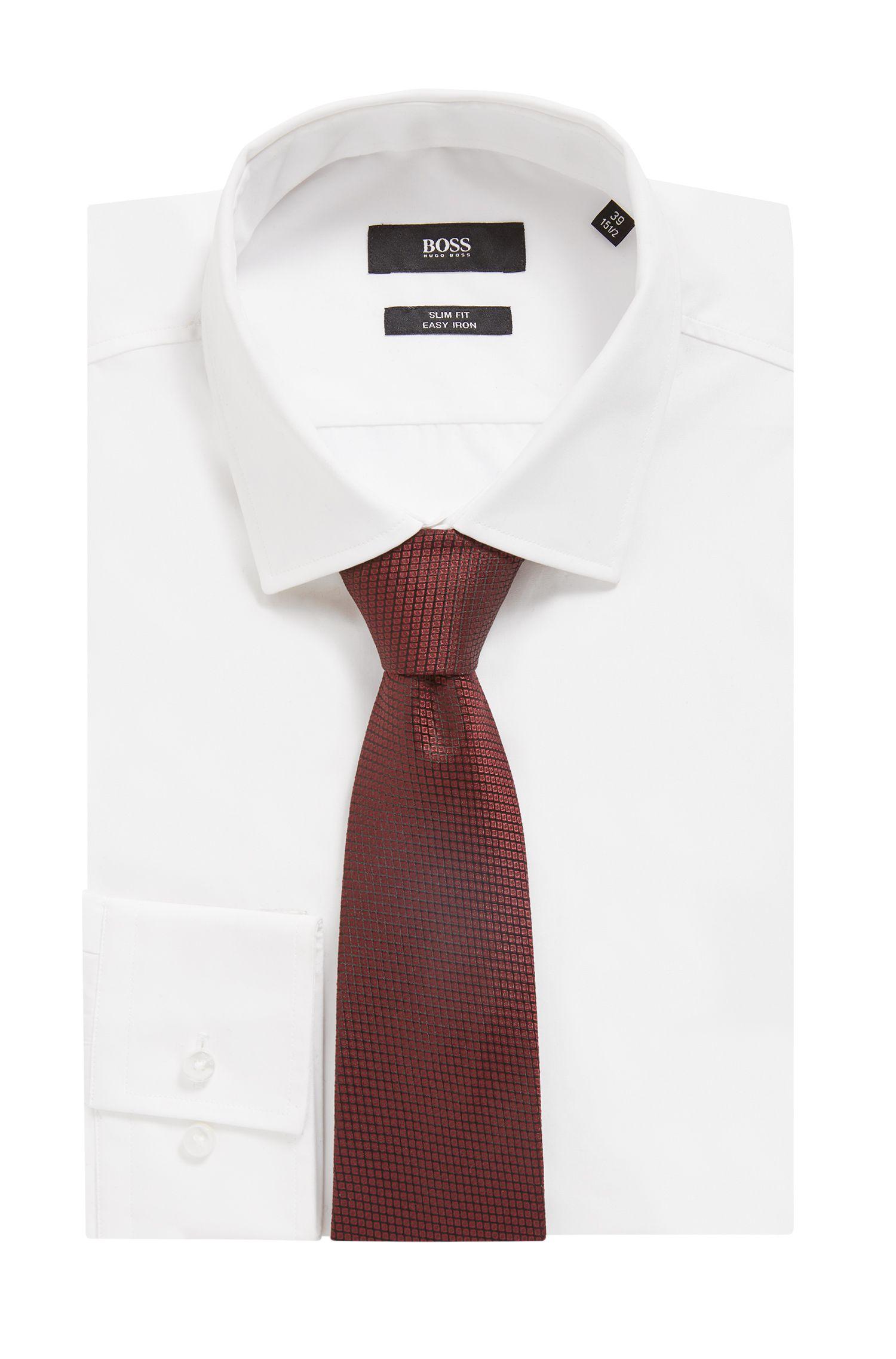 Italian-made tie in patterned silk jacquard, Dark Red