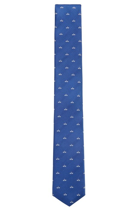 Travel Line tie in airplane-motif water-repellent silk, Blue