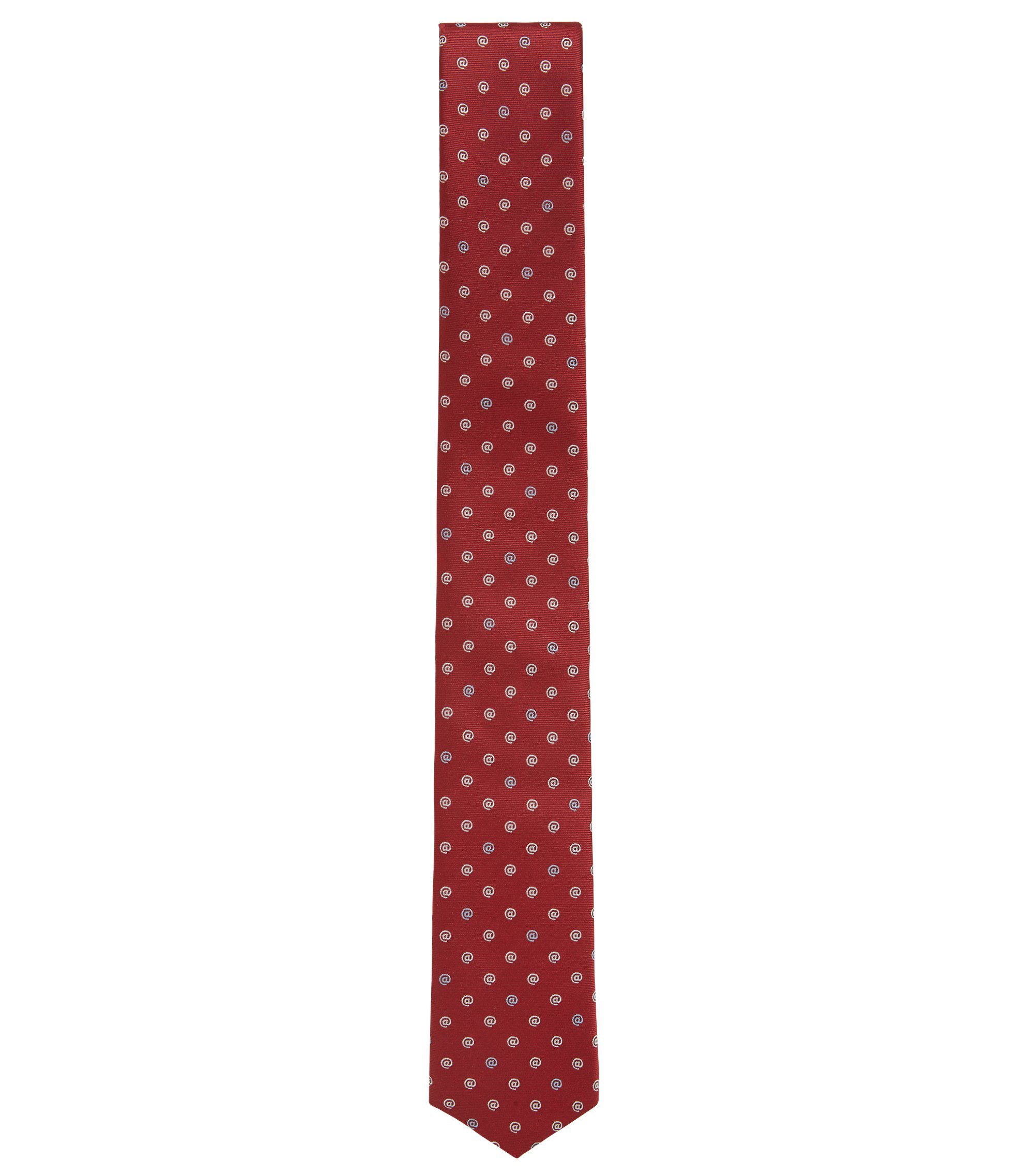 Travel Line water-repellent silk tie with symbol motif, Red