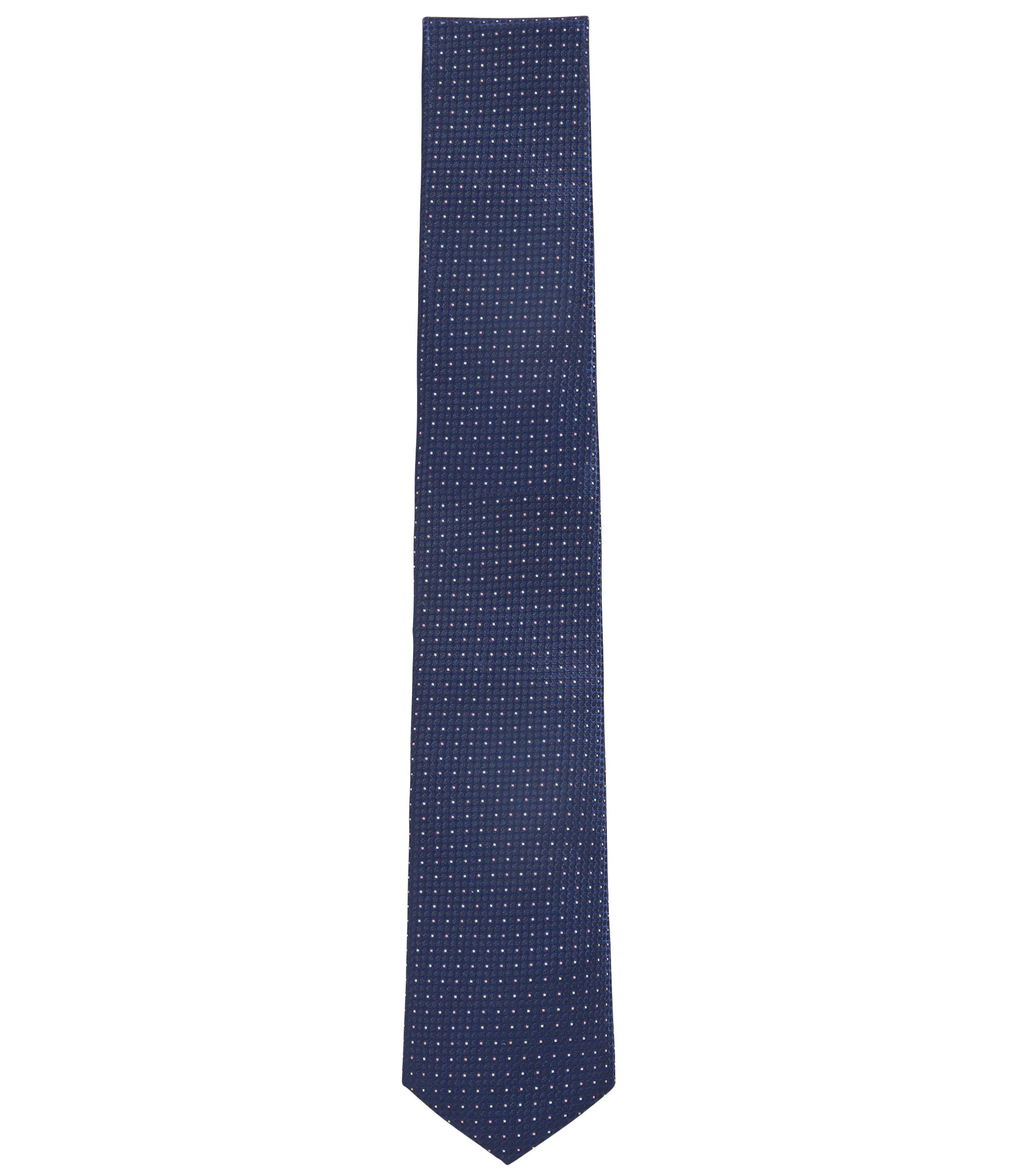 Patterned tie in water-repellent silk jacquard, Open Blue