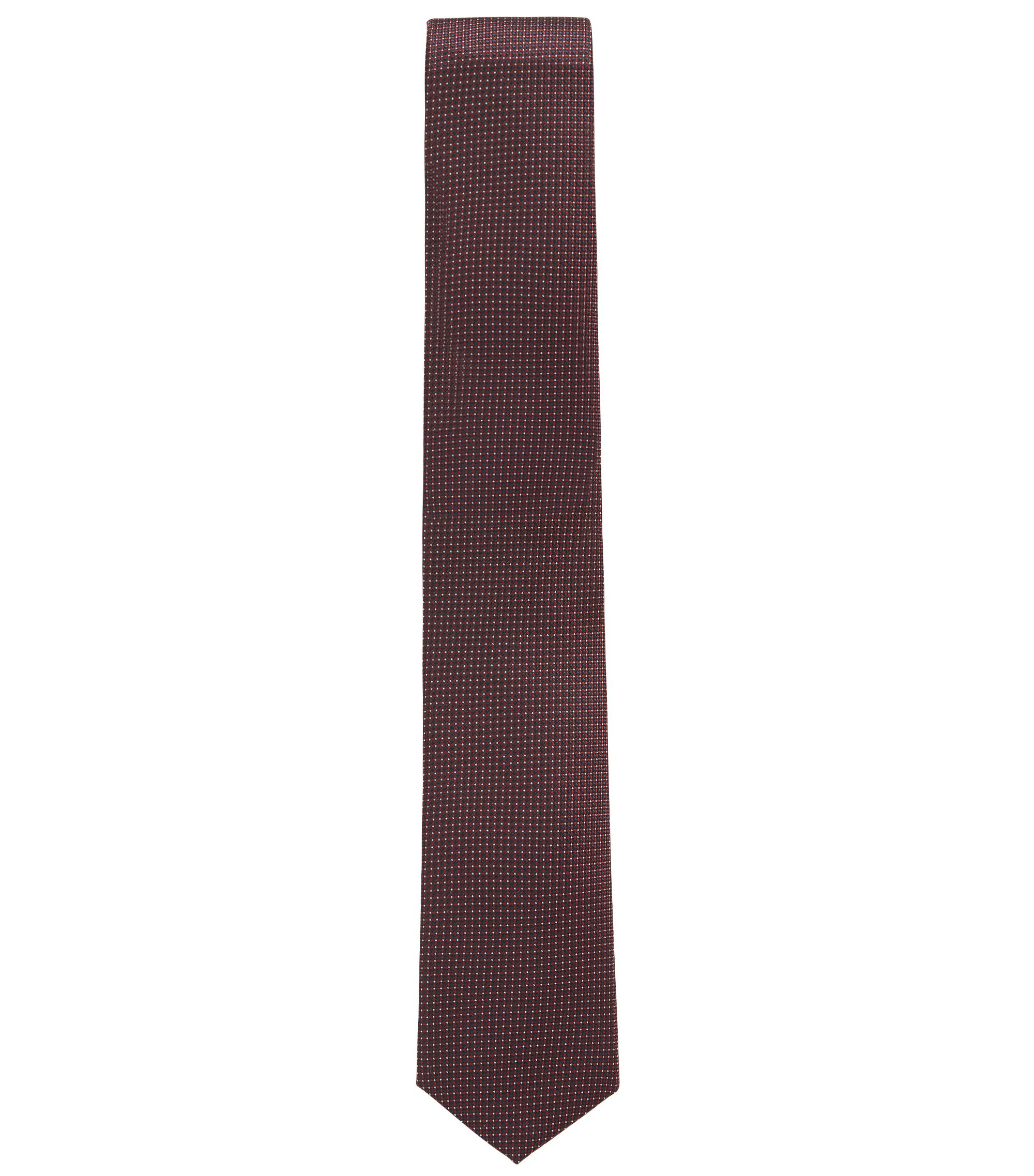 Patterned tie in water-repellent silk jacquard, Red
