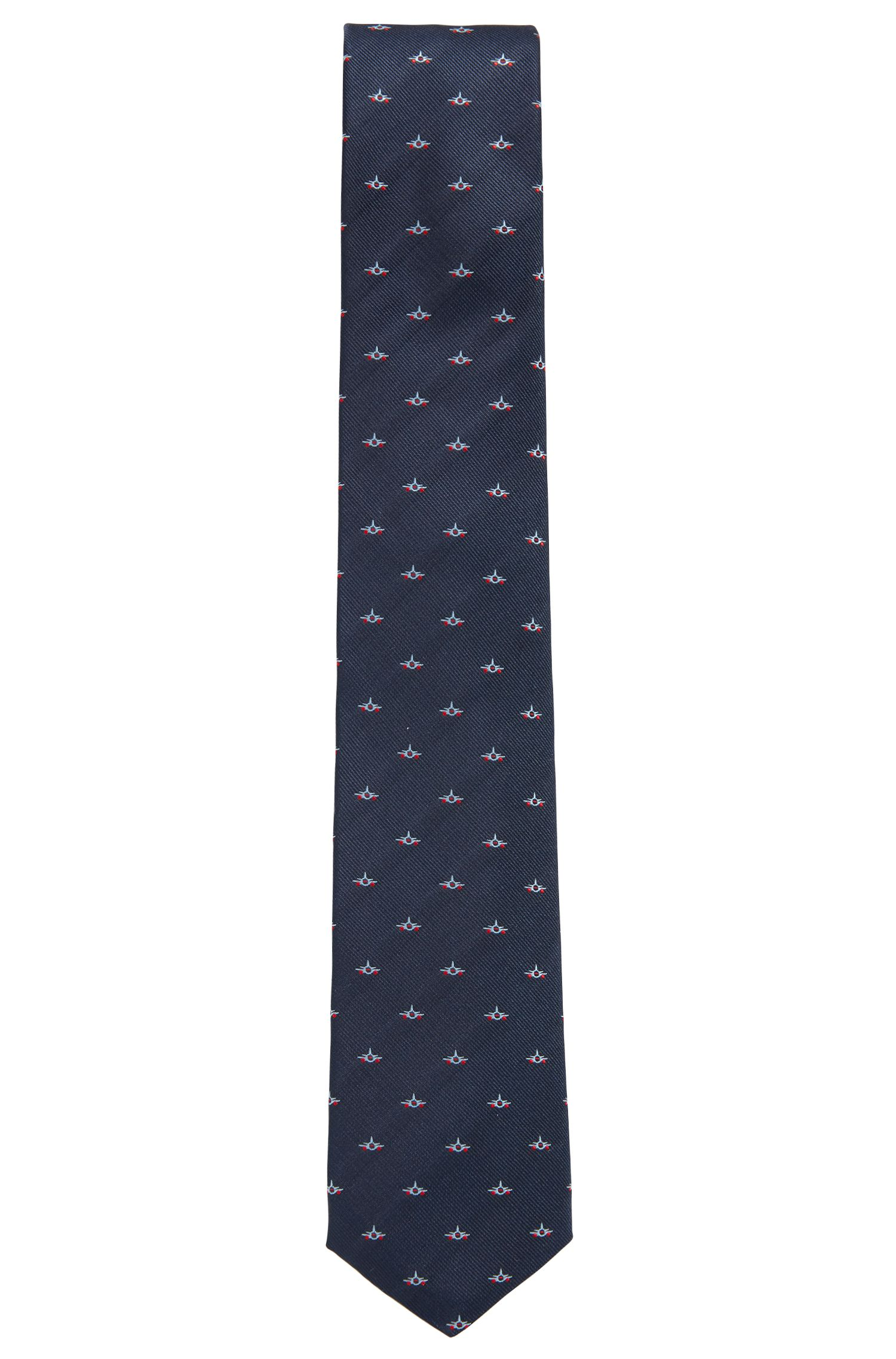 Travel Line water-repellent silk tie with airplane pattern, Open Blue