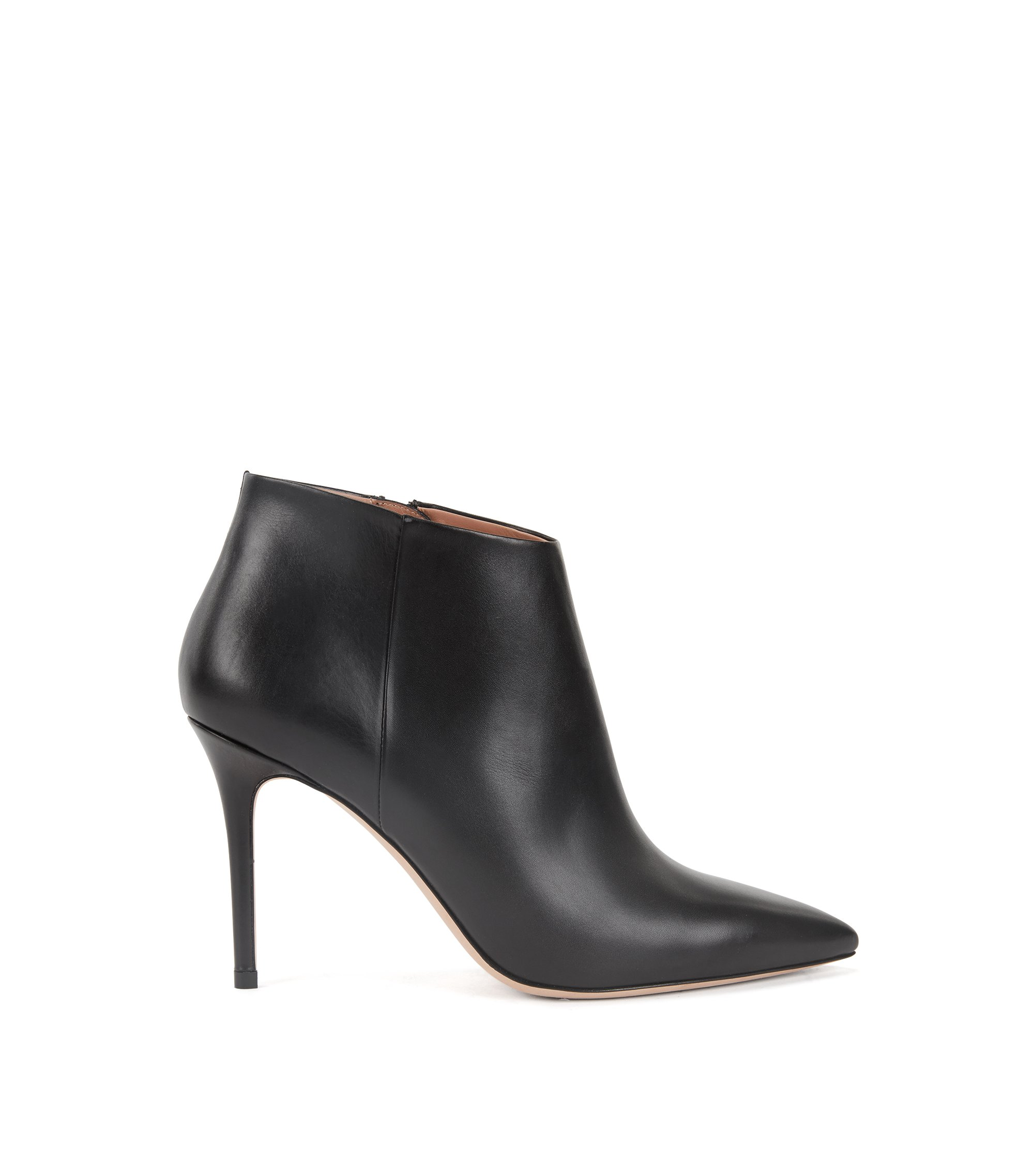 High-heeled ankle boots in Italian calf leather, Black