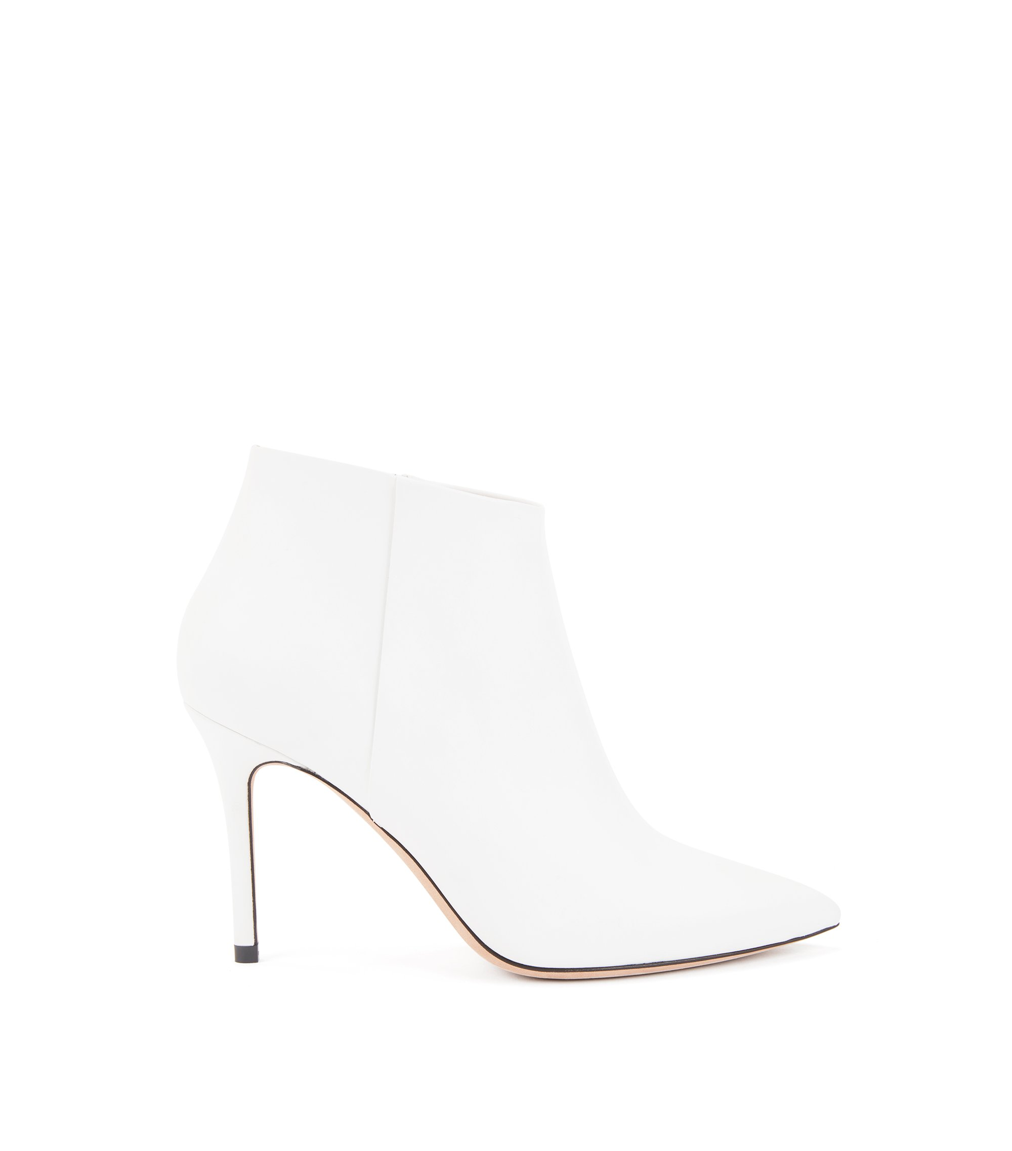 High-heeled ankle boots in Italian calf leather, White