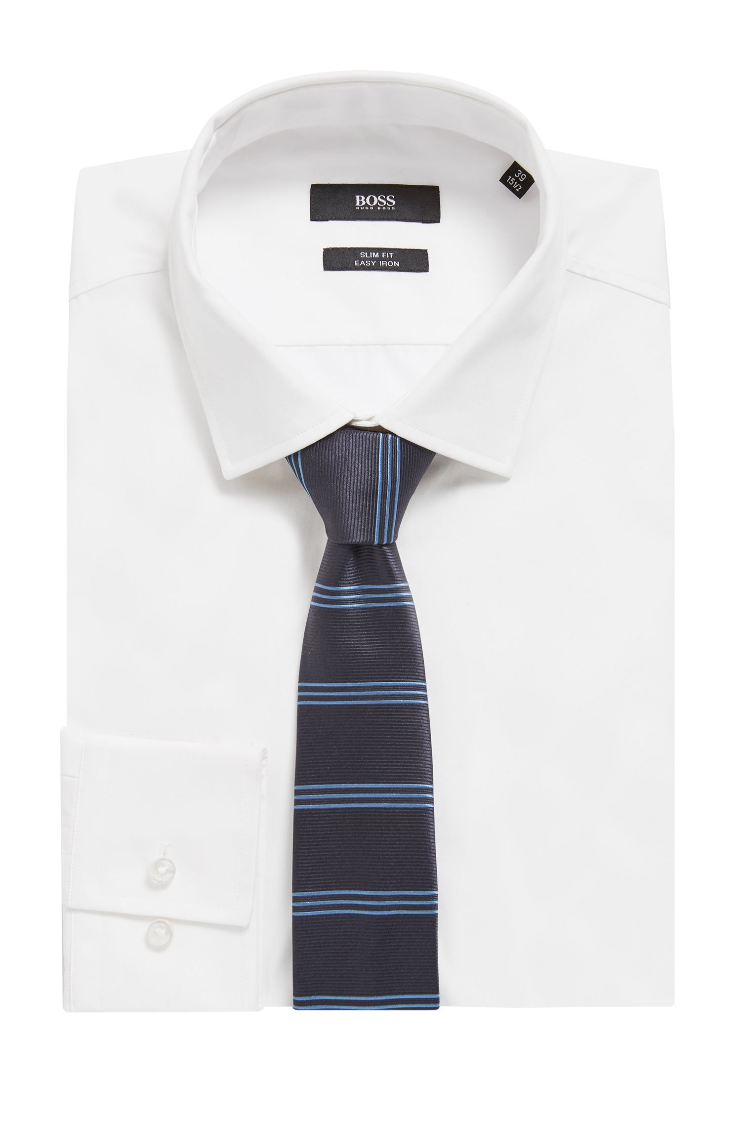 Hand-crafted tie in silk with horizontal stripes, Open Blue