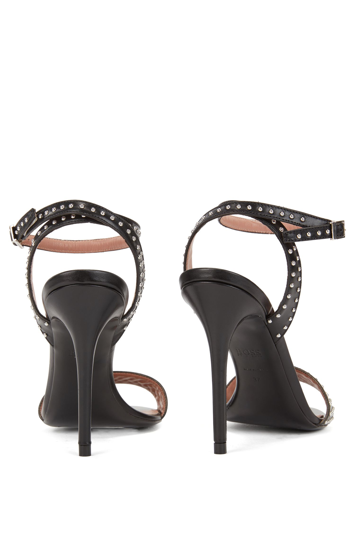 Strappy sandals in Italian calf leather with stud detailing, Black