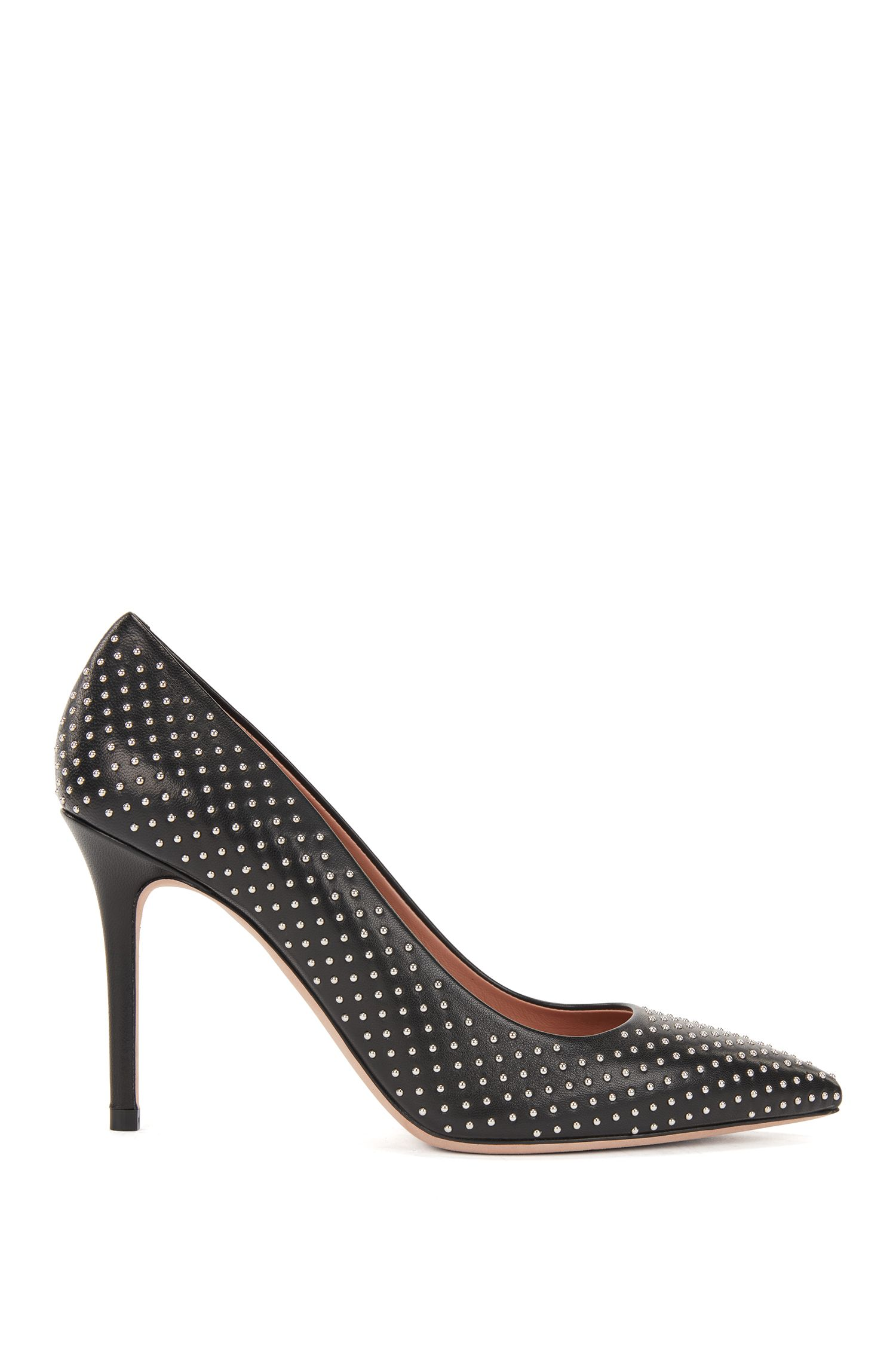 High-heeled pumps in Italian lambskin with stud detailing, Black