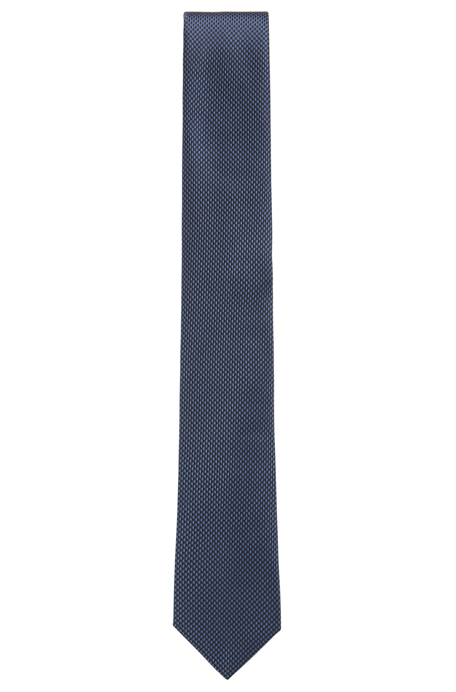 Hand-crafted tie in micro-patterned silk jacquard, Open Blue