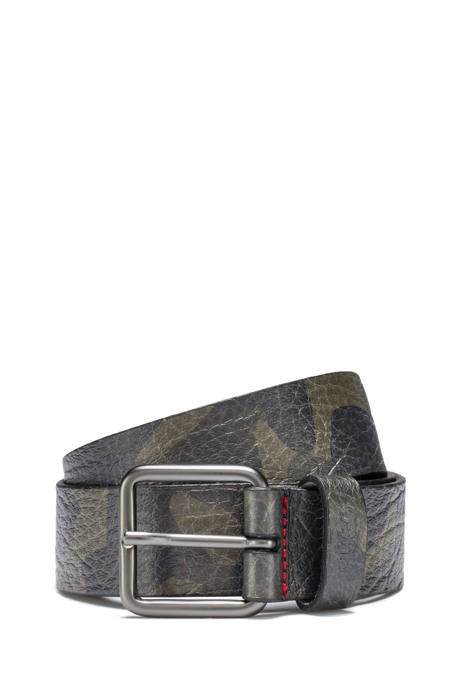 Camouflage-print belt in grainy Italian leather, Patterned