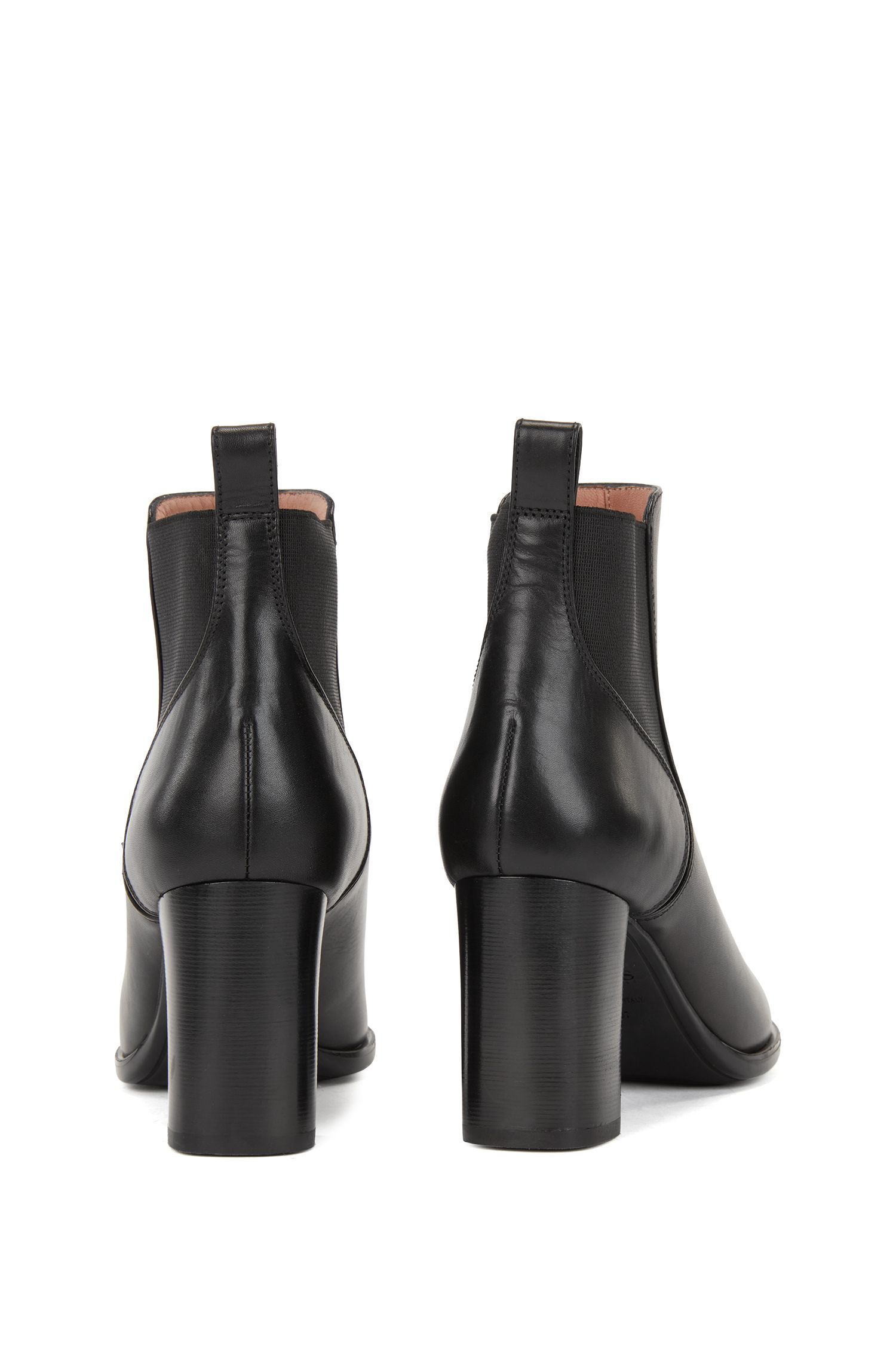 Heeled Chelsea boots in smooth Italian calf leather, Black
