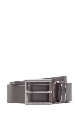 Belt in smooth leather with polished gunmetal keeper, Dark Brown