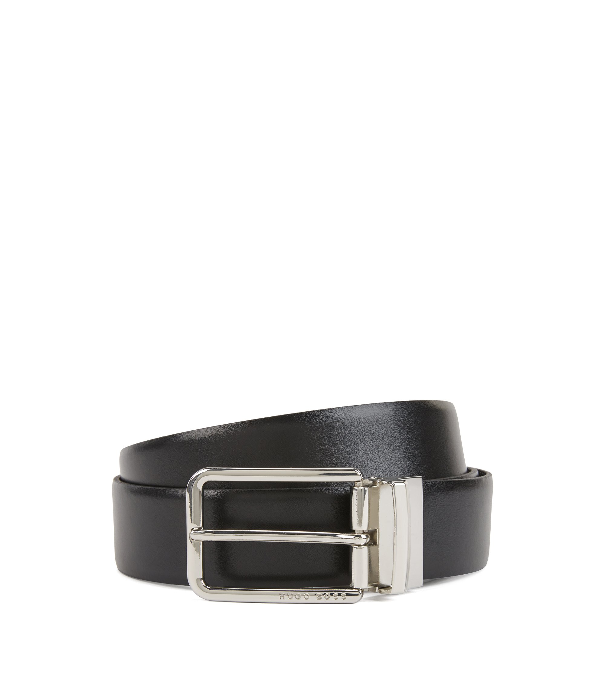 Reversible leather belt in two colors with silver buckle, Black
