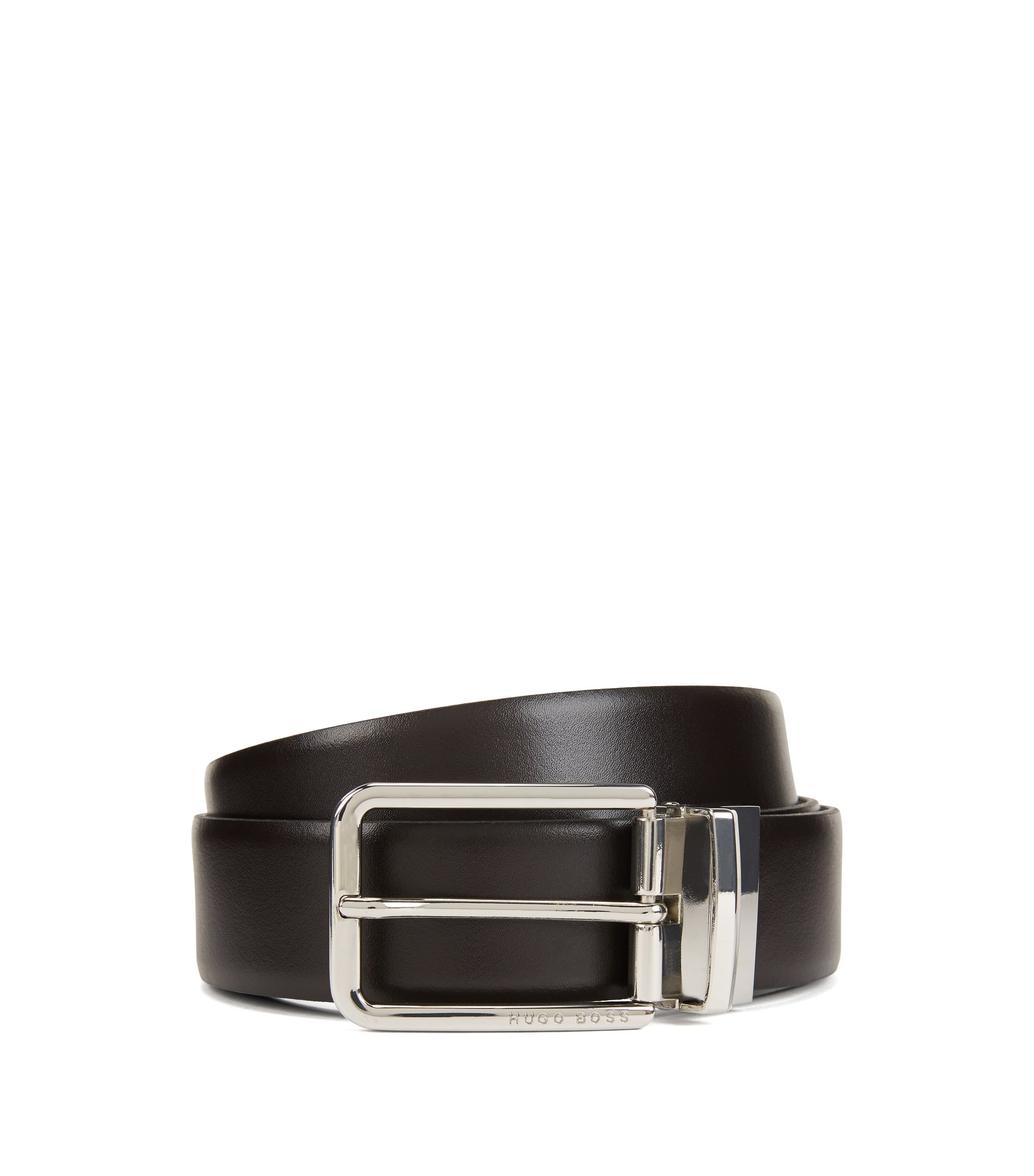 Reversible leather belt in two colors with silver buckle, Dark Brown