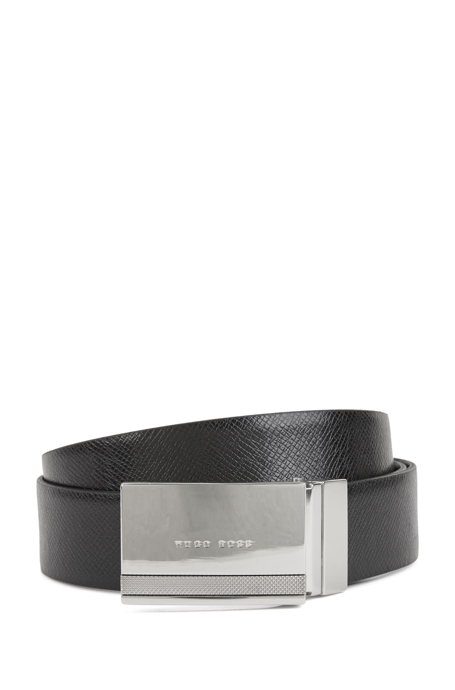 Reversible leather belt with double buckle option, Black