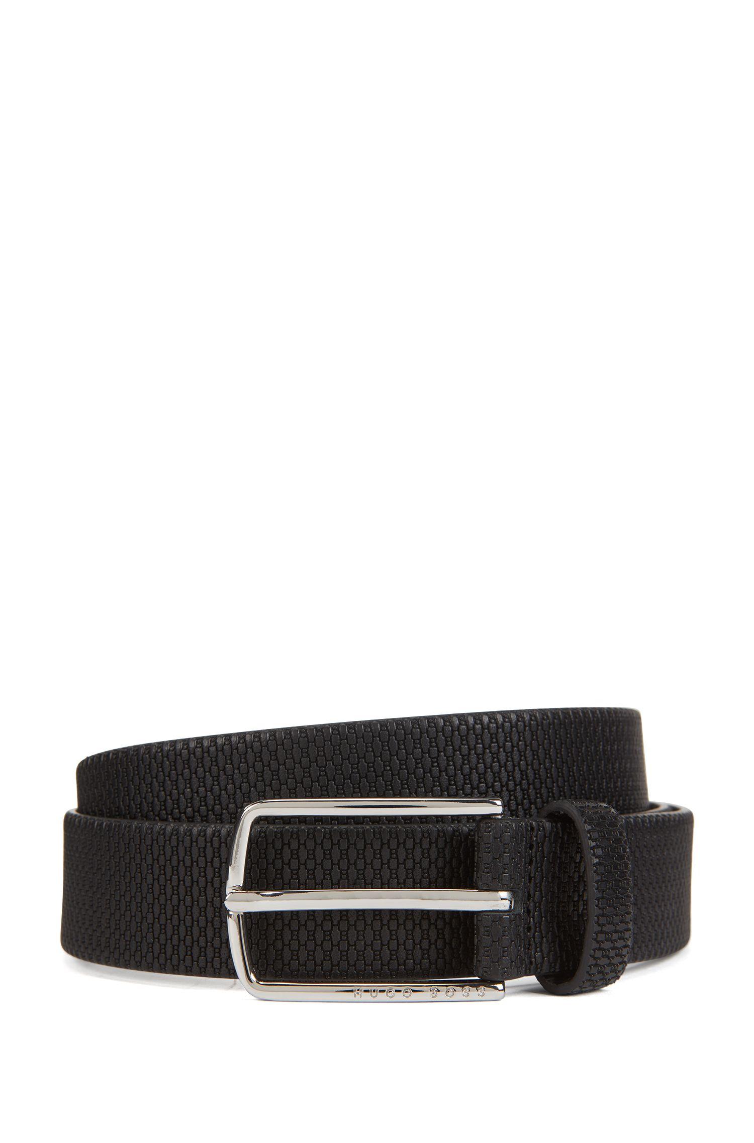 Monogram-embossed leather belt with polished hardware, Black