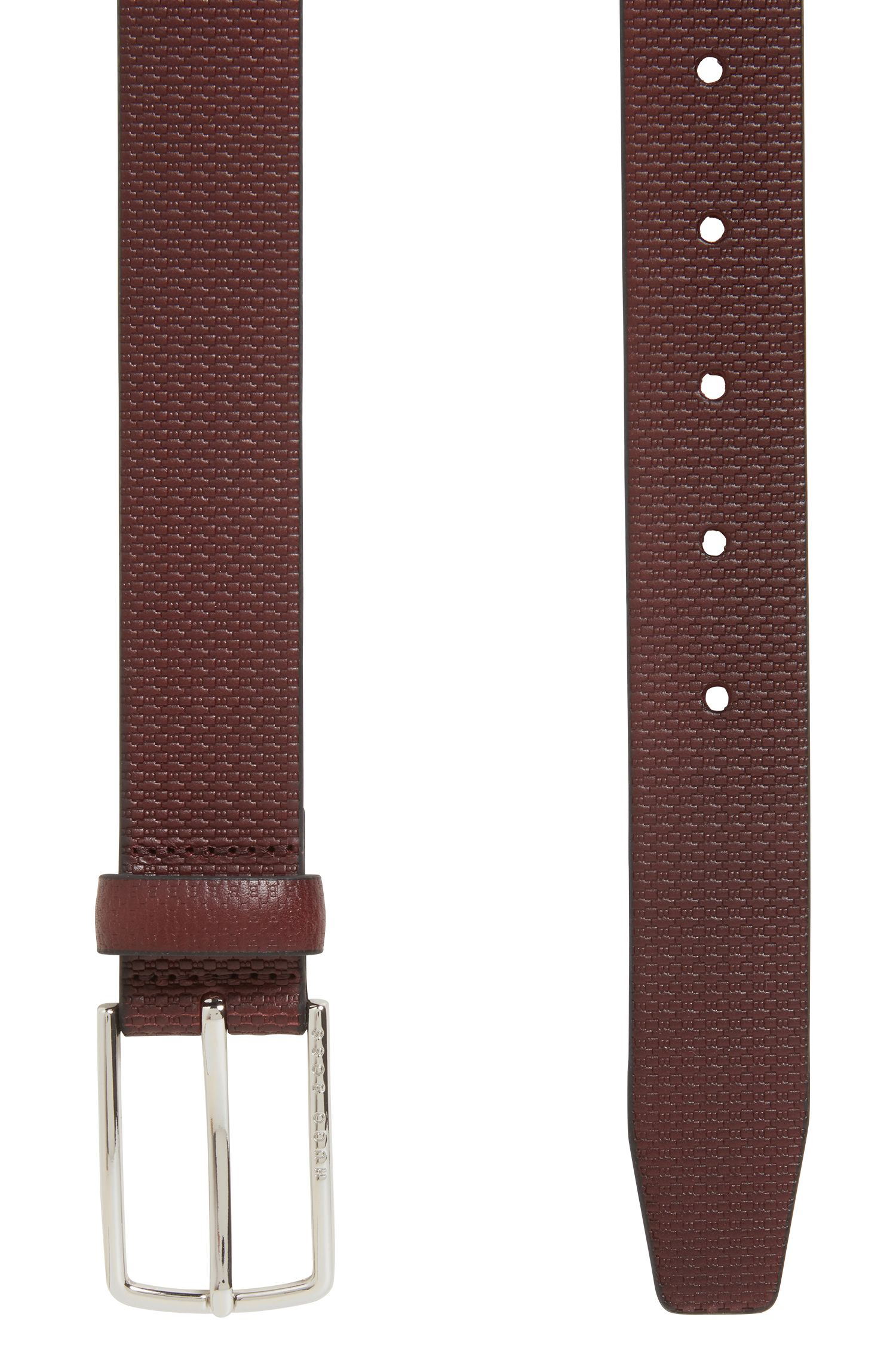 Monogram-embossed leather belt with polished hardware, Dark Red