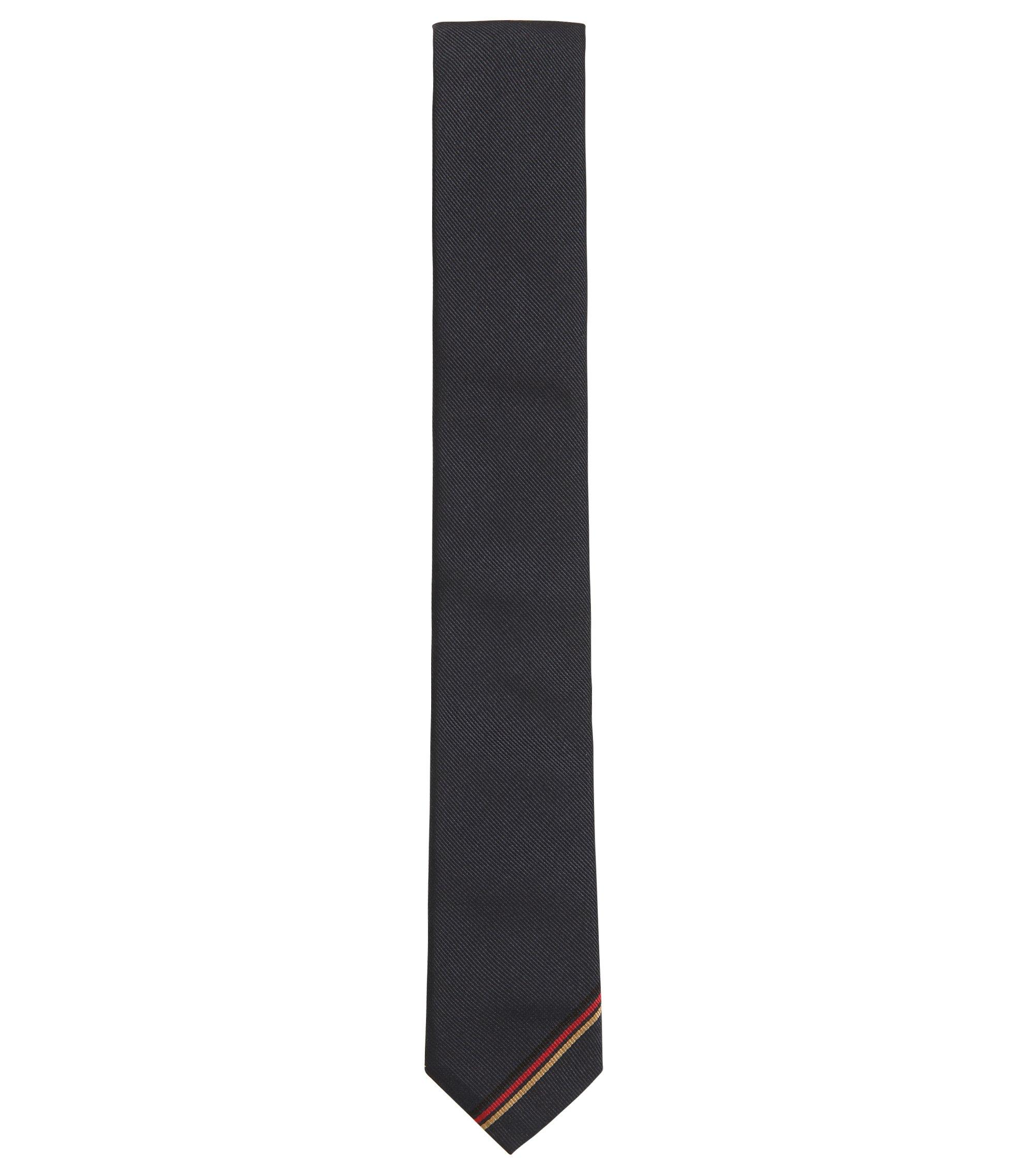 Silk tie with German flag detail, Dark Blue