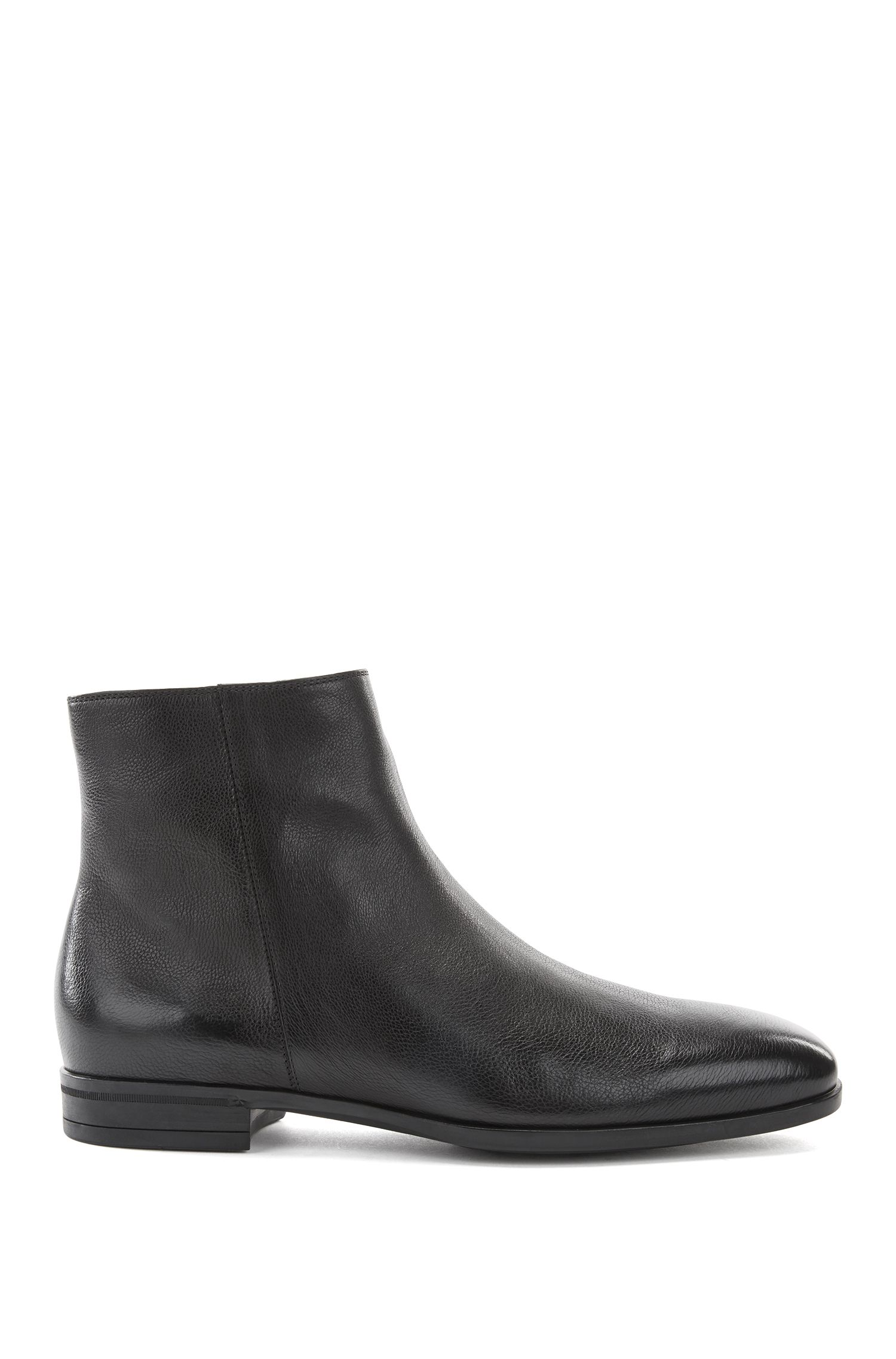 Grainy calf-leather boots with shearling lining, Black