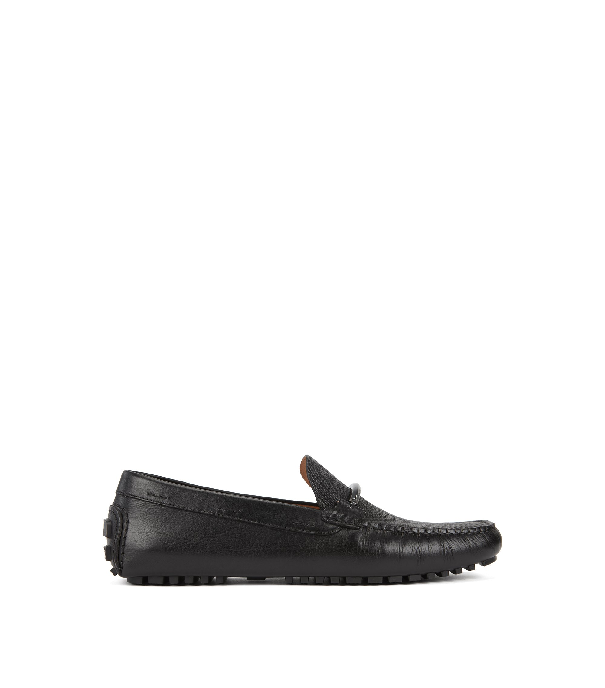 Driver moccasins in monogram-embossed calf leather, Black