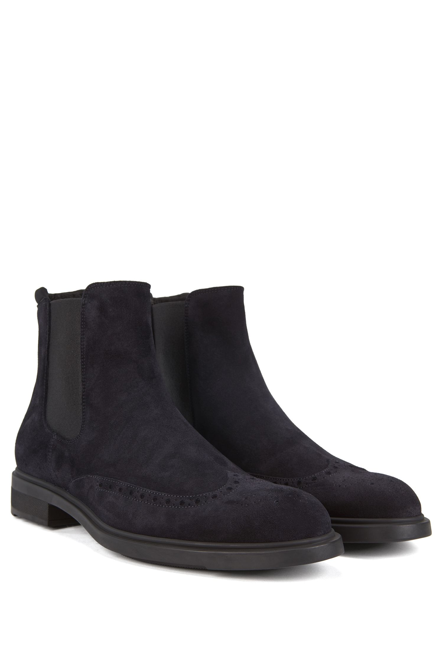 Chelsea boots in waterproof suede, Dark Blue