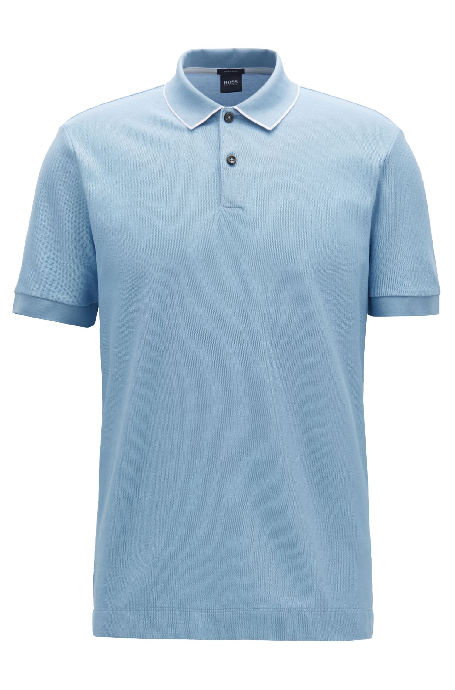 Regular-fit polo shirt in two-tone honeycomb cotton, Light Blue