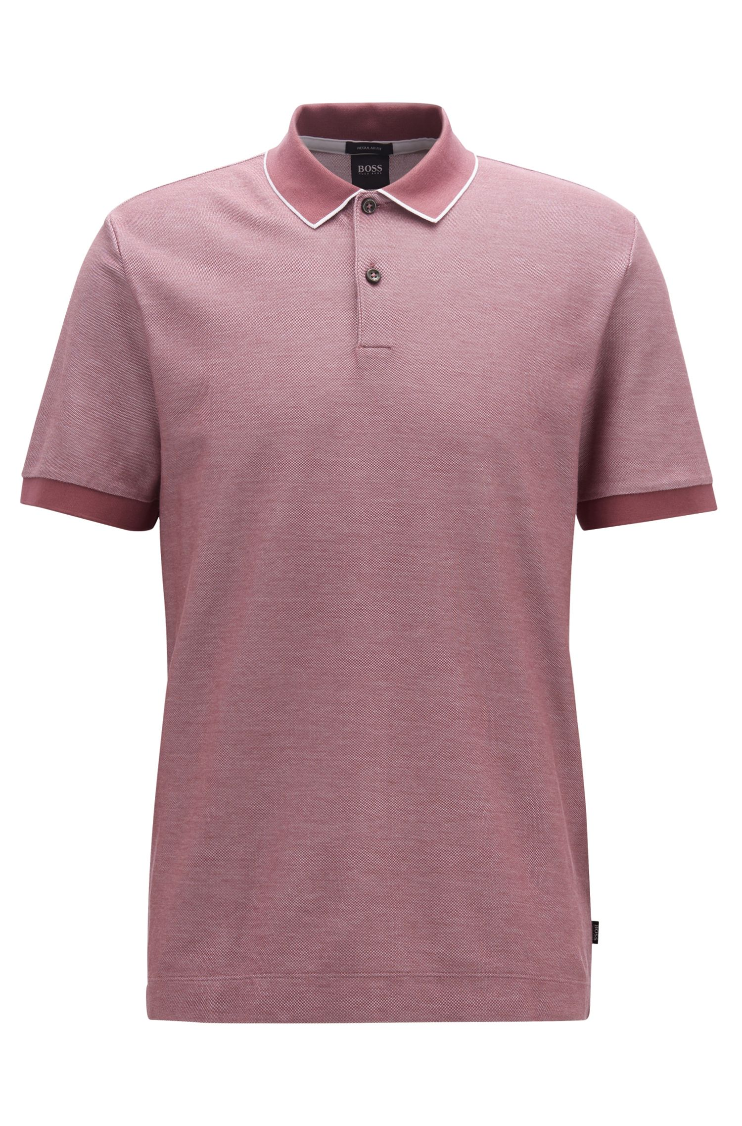 Regular-fit polo shirt in two-tone honeycomb cotton, Open Purple