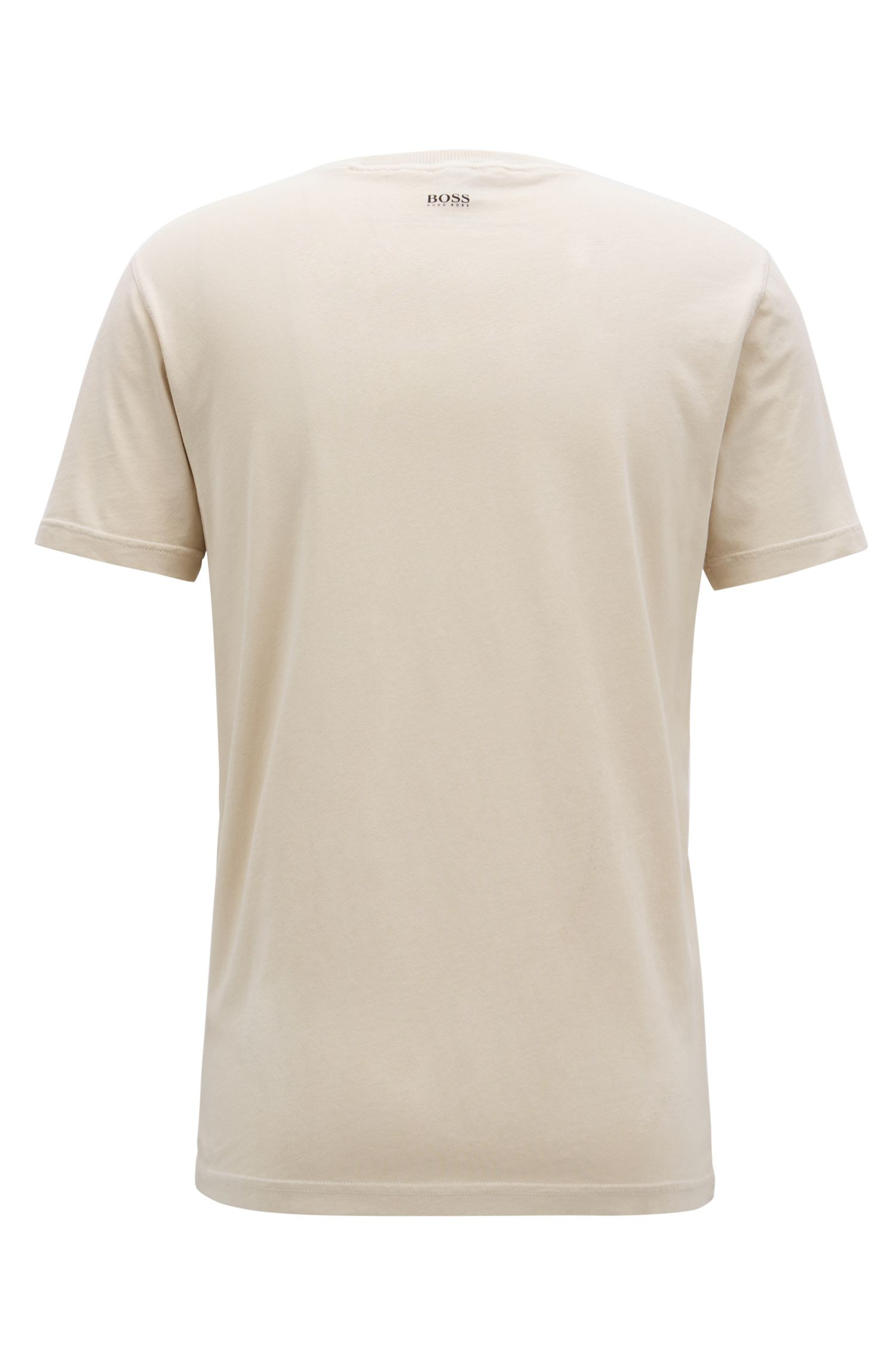 Relaxed-fit slogan T-shirt in recot²® cotton jersey, Open Beige