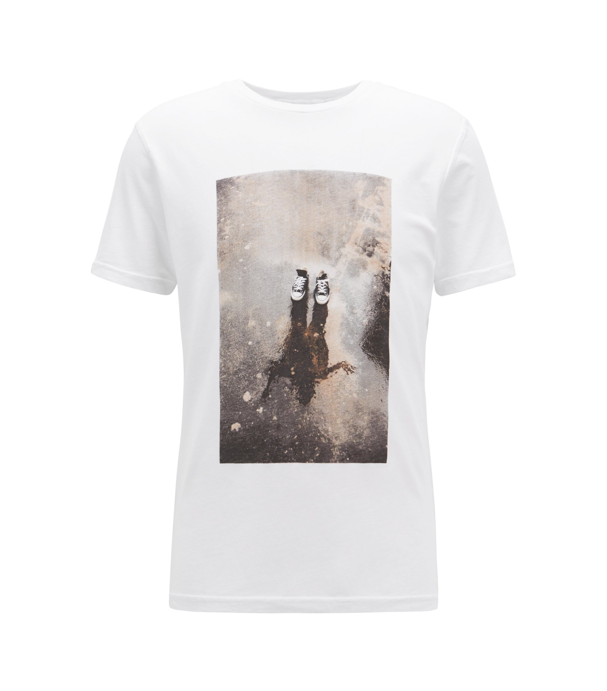 Relaxed-fit graphic T-shirt in recot²® cotton jersey, White