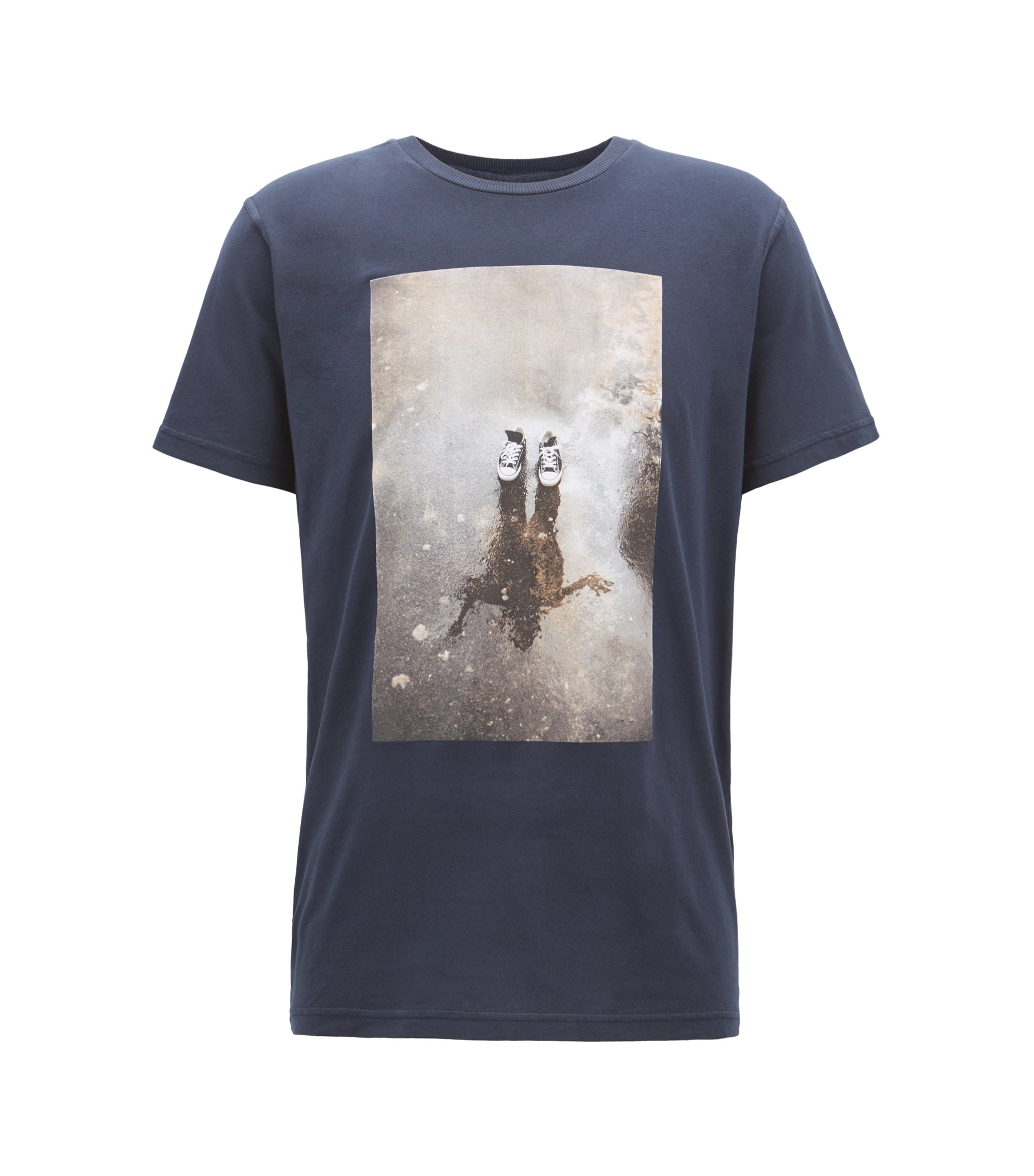 Relaxed-fit graphic T-shirt in recot²® cotton jersey, Dark Blue